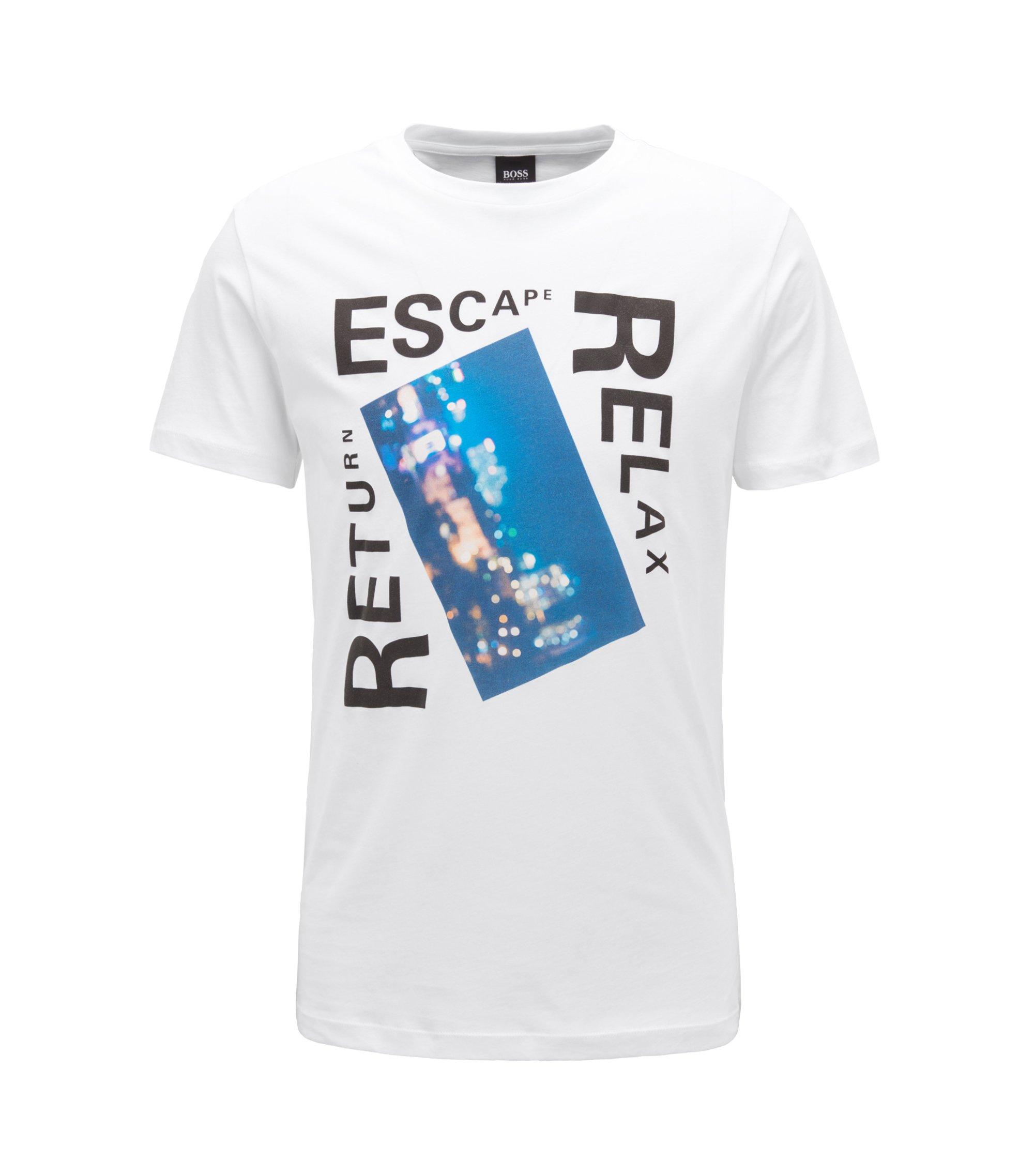 Camiseta con estampado gráfico mixto en algodón con lavado, Blanco