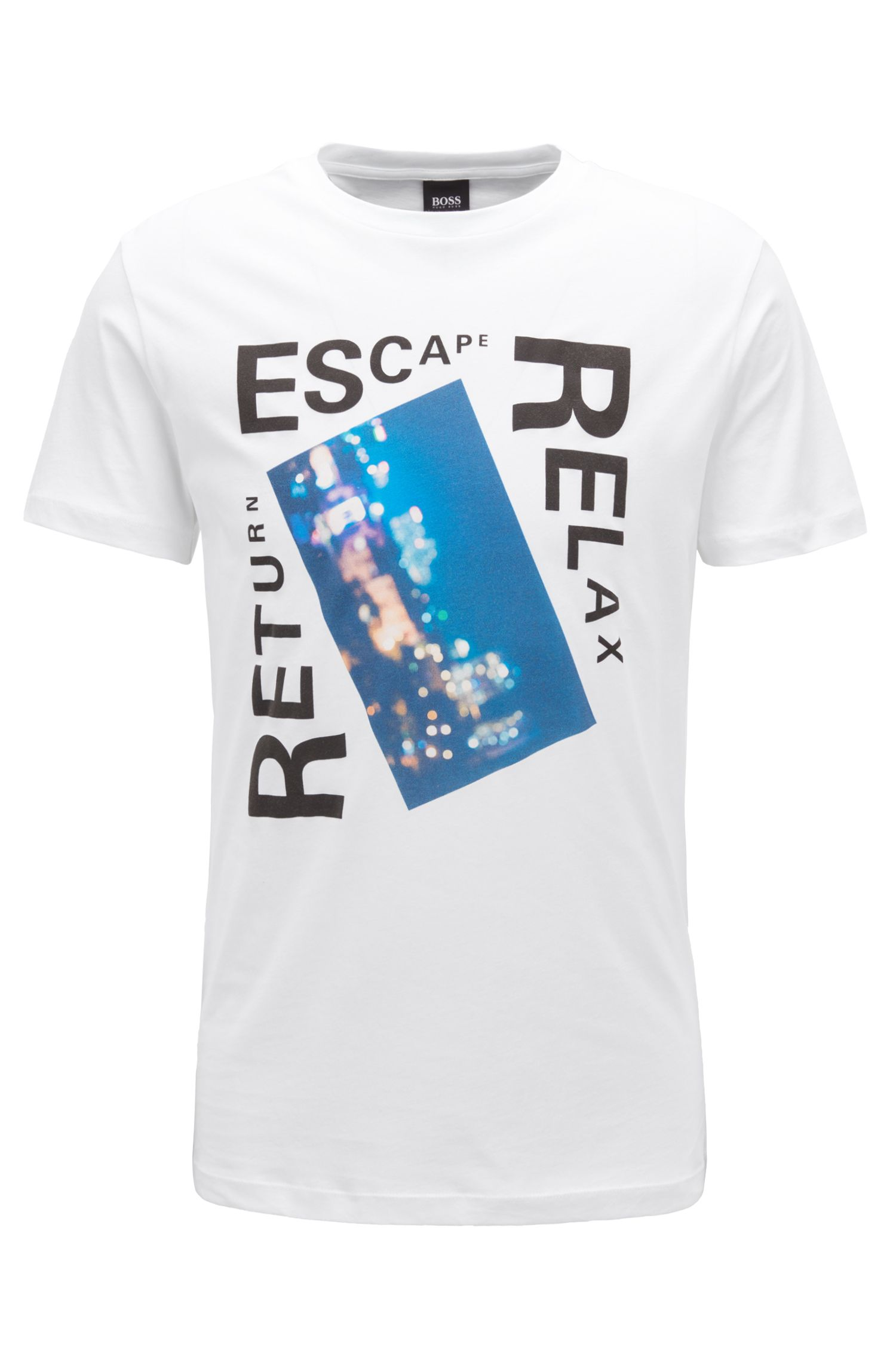 T-shirt à imprimé graphique mélangé en coton lavé, Blanc