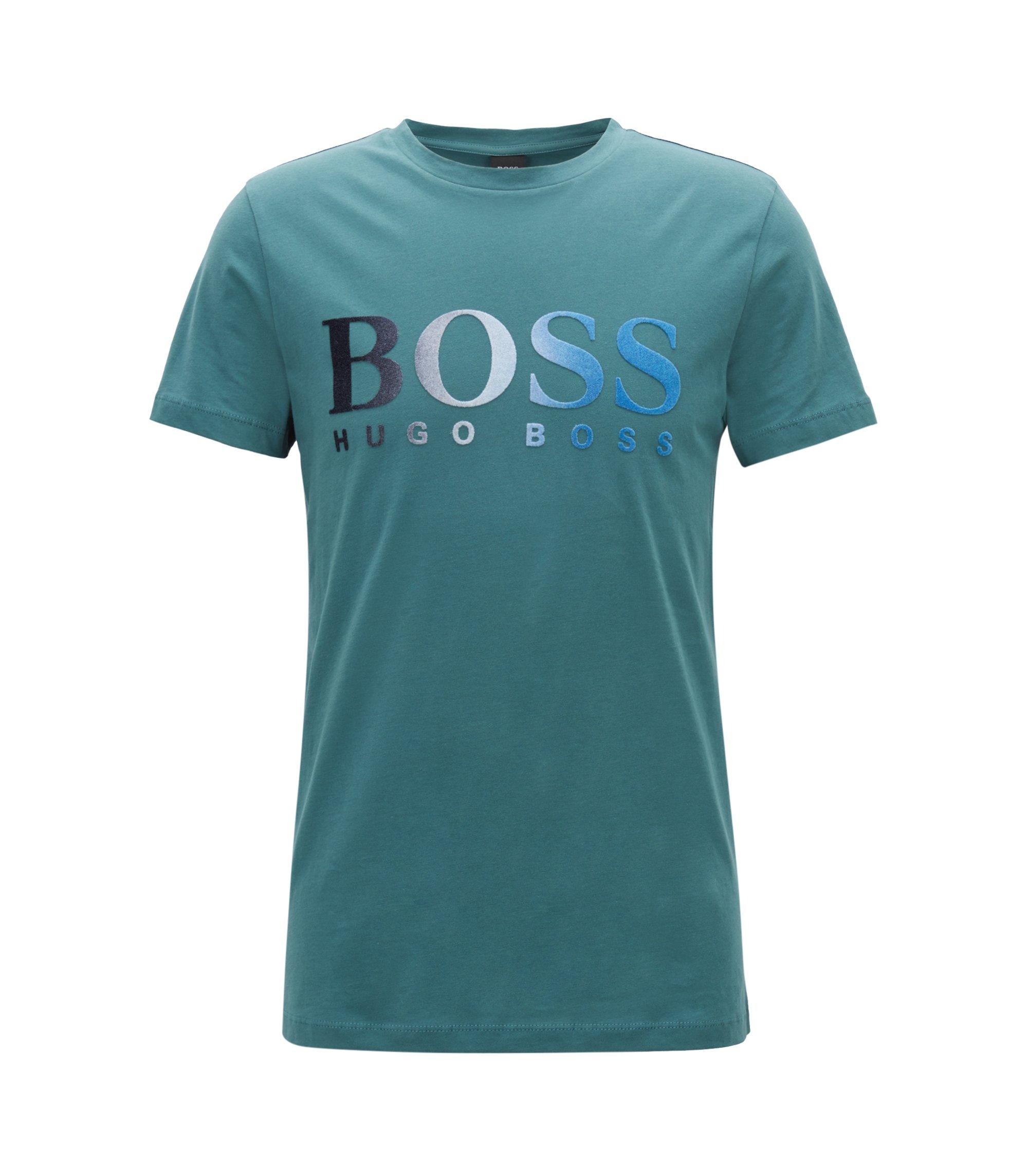 T-shirt van jersey met gevlokt logo in dégradé, Groen