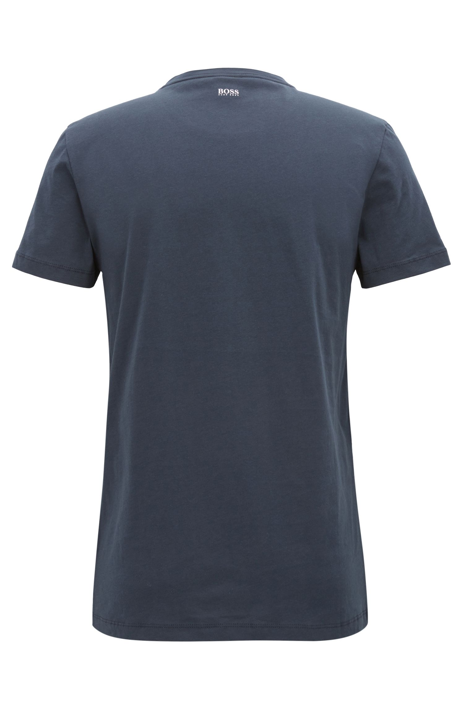 Jersey T-shirt with dégradé flocked logo, Dark Blue
