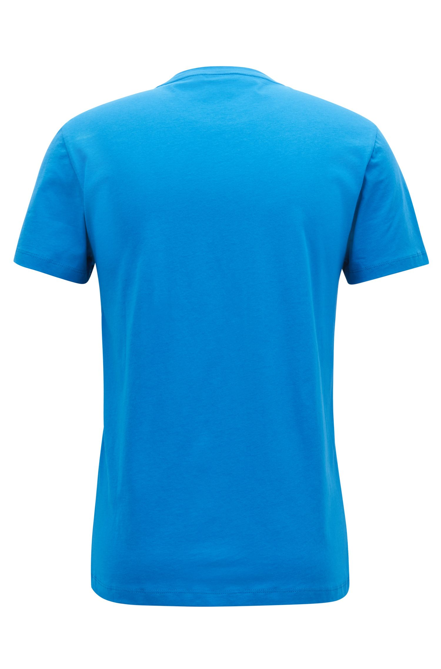 Jersey T-shirt with dégradé flocked logo, Blue