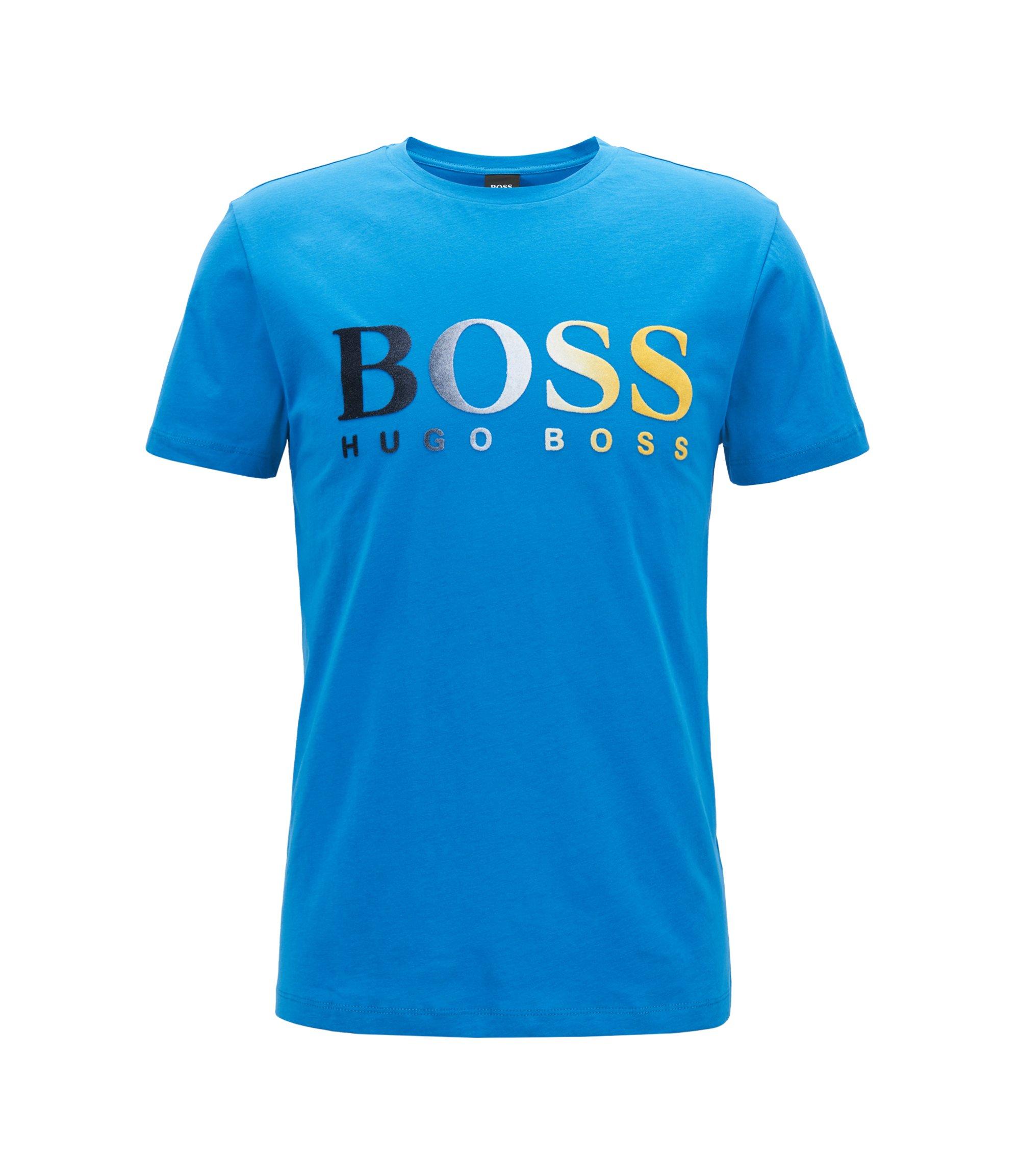 Camiseta de punto con logo flocado y degradado, Azul