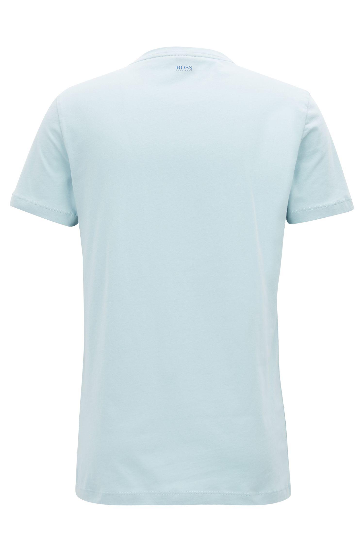 T-shirt van jersey met gevlokt logo in dégradé, Lichtblauw