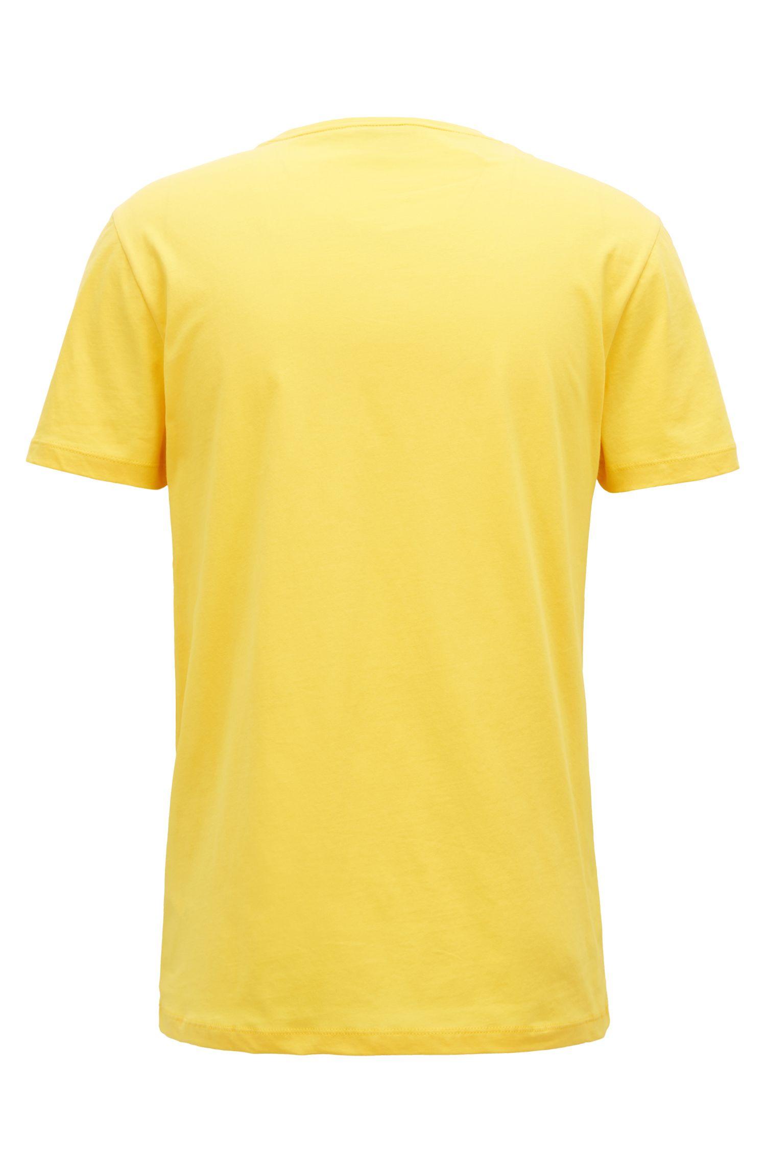T-shirt van jersey met gevlokt logo in dégradé, Geel