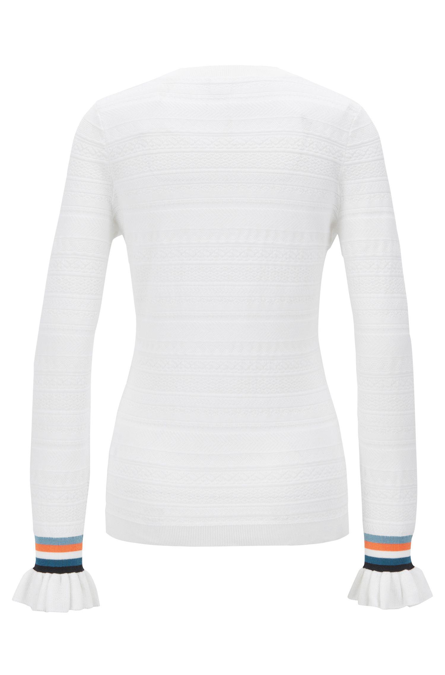 Pullover aus Baumwoll-Mix mit gerafften Ärmeln und gestreiften Bündchen, Weiß