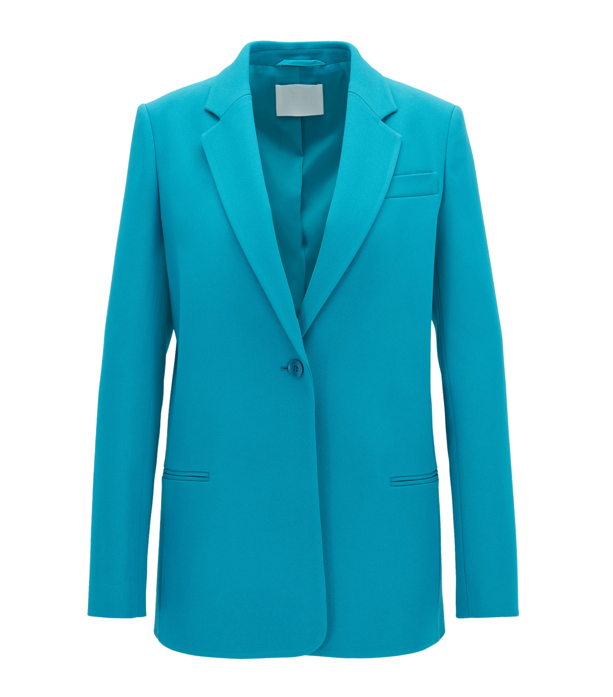 Gallery Collection relaxed-fit blazer in bonded crêpe , Blue