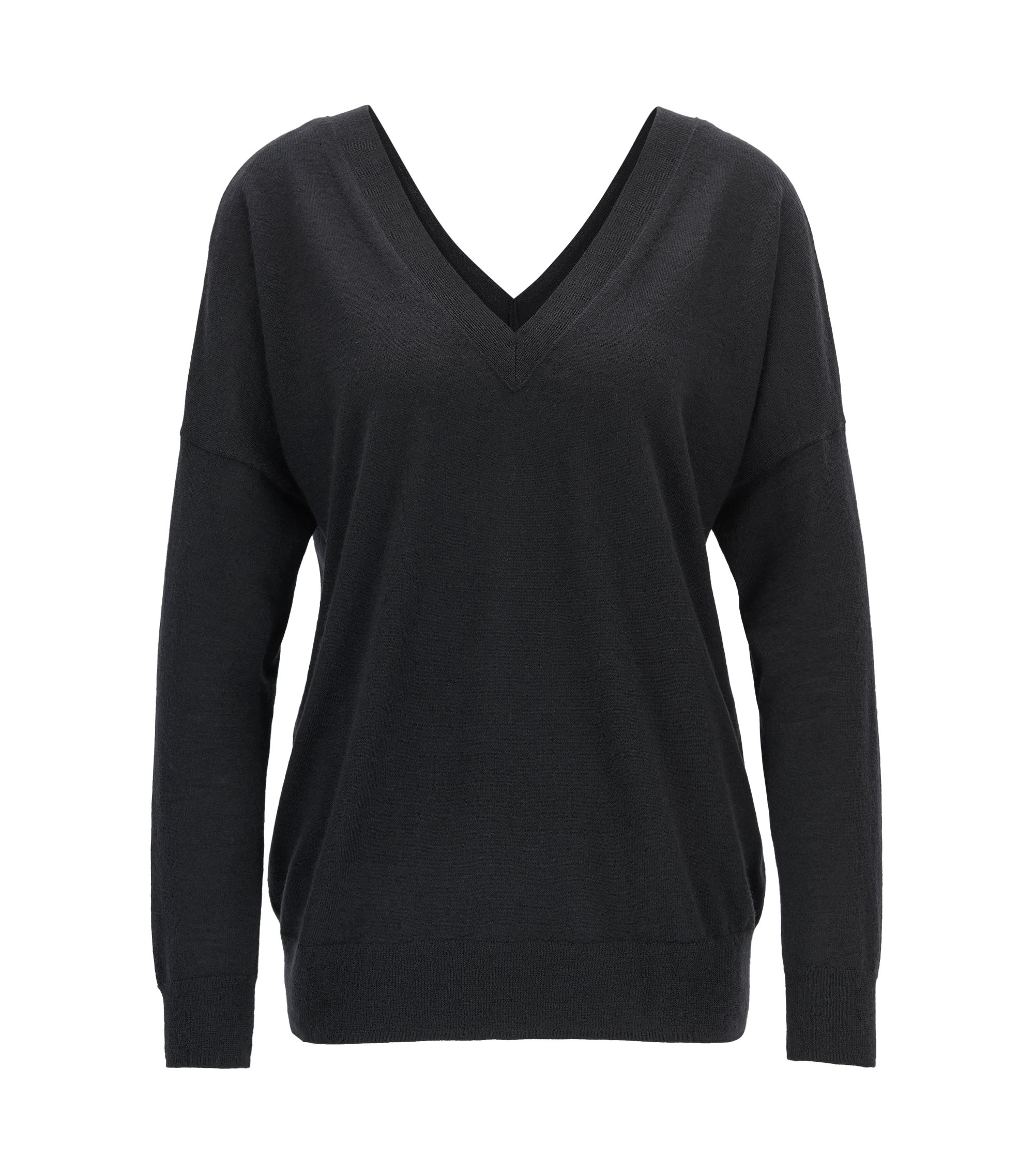 Gallery Collection cashmere V-neck sweater , Dark Blue