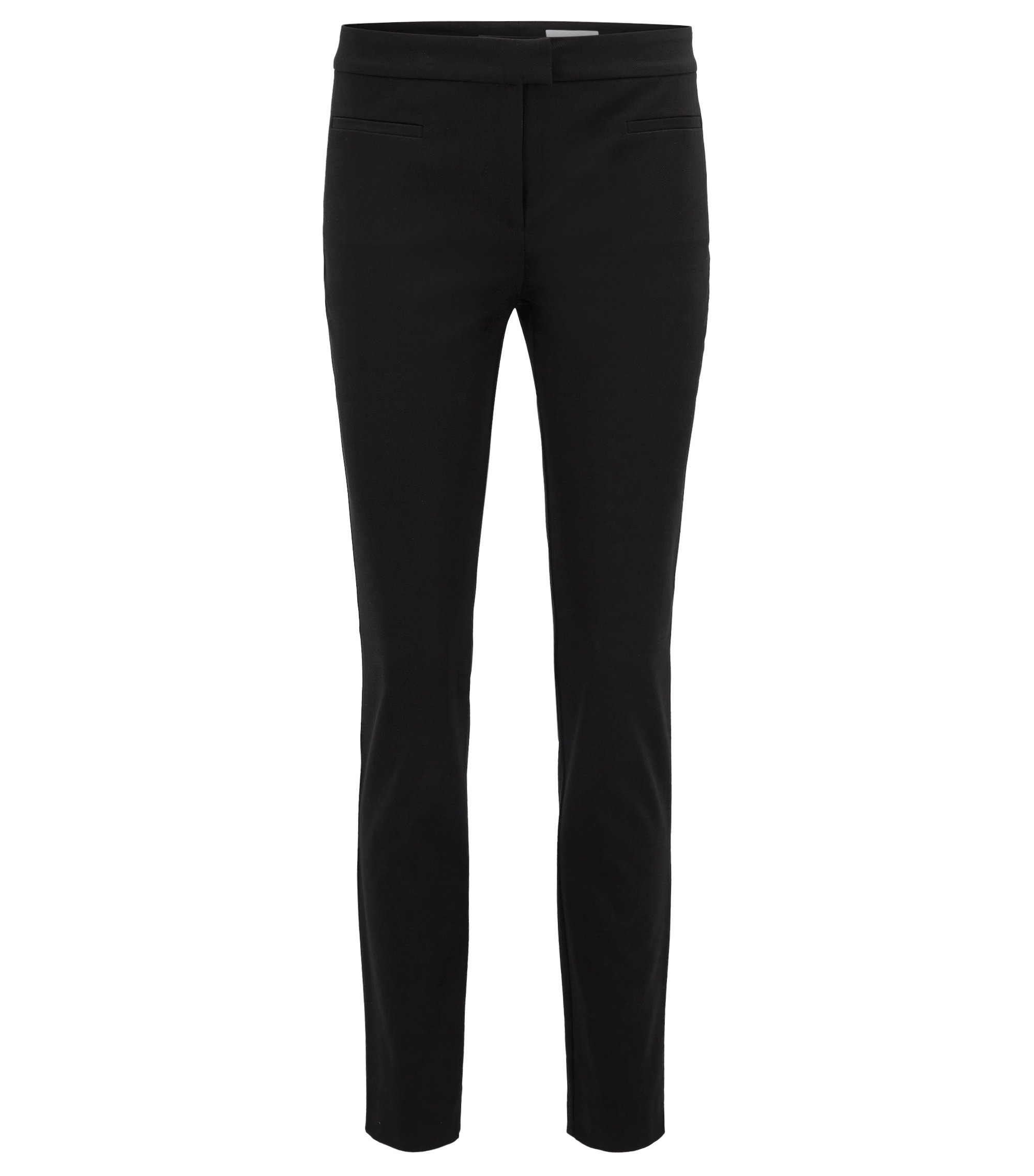 Slim-fit cropped trousers in stretch cotton, Black