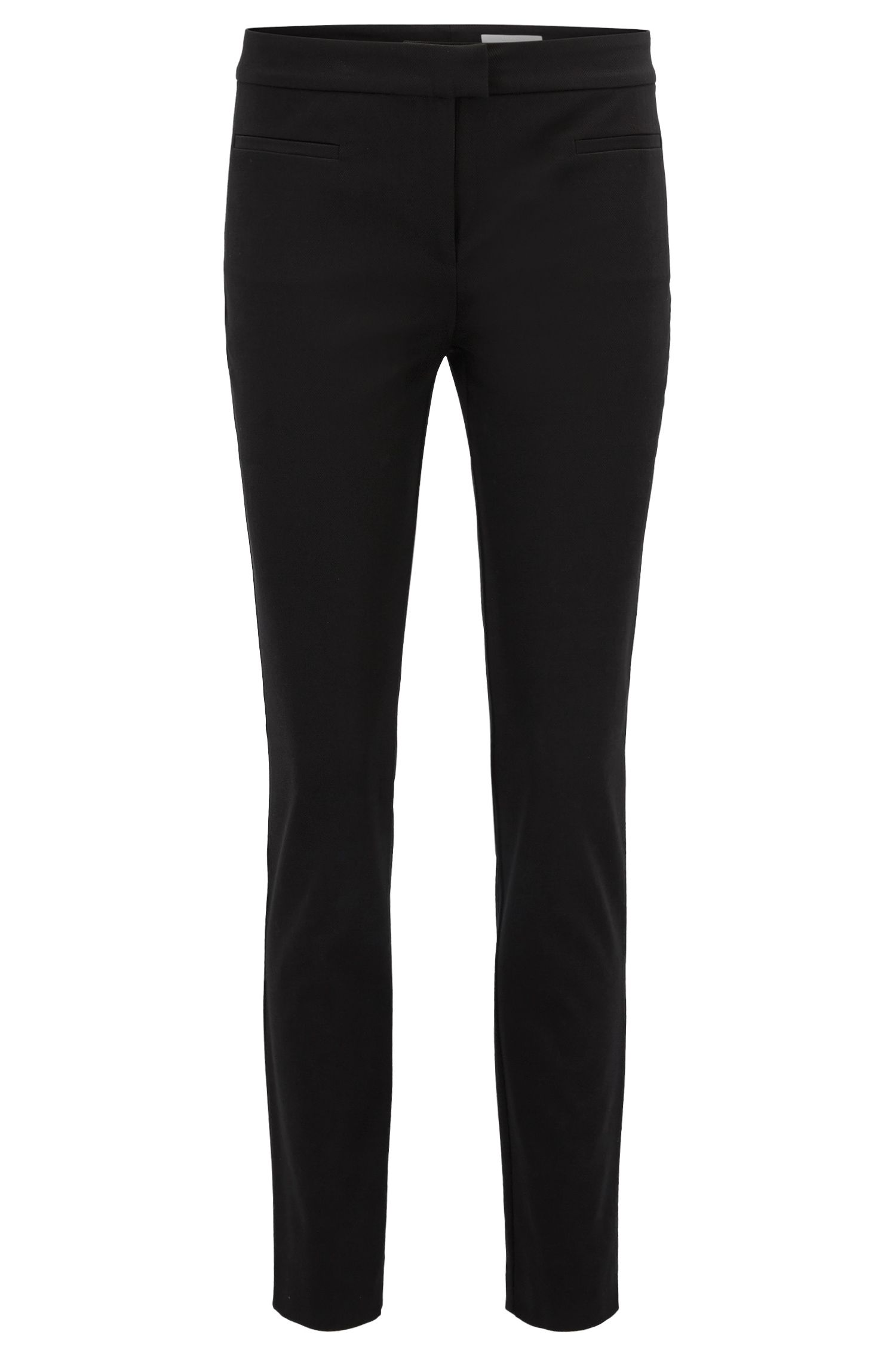Slim-fit cropped trousers in stretch cotton