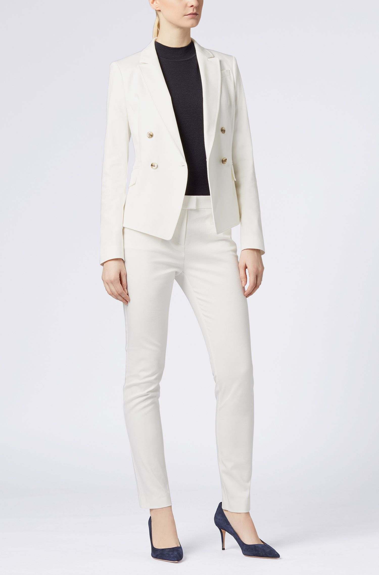 Pantalon Slim Fit raccourci en coton stretch