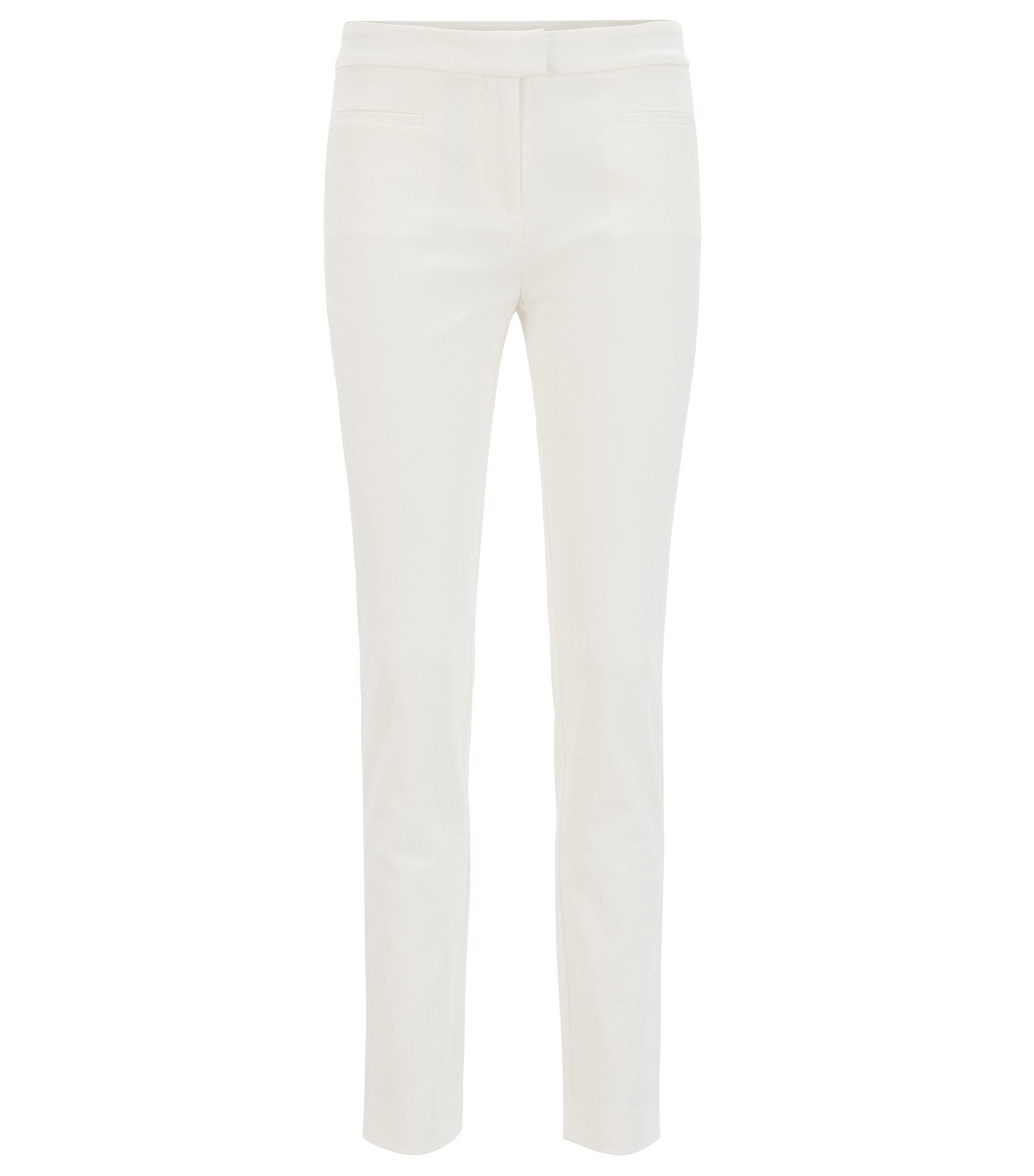 Slim-fit cropped trousers in stretch cotton, Natural