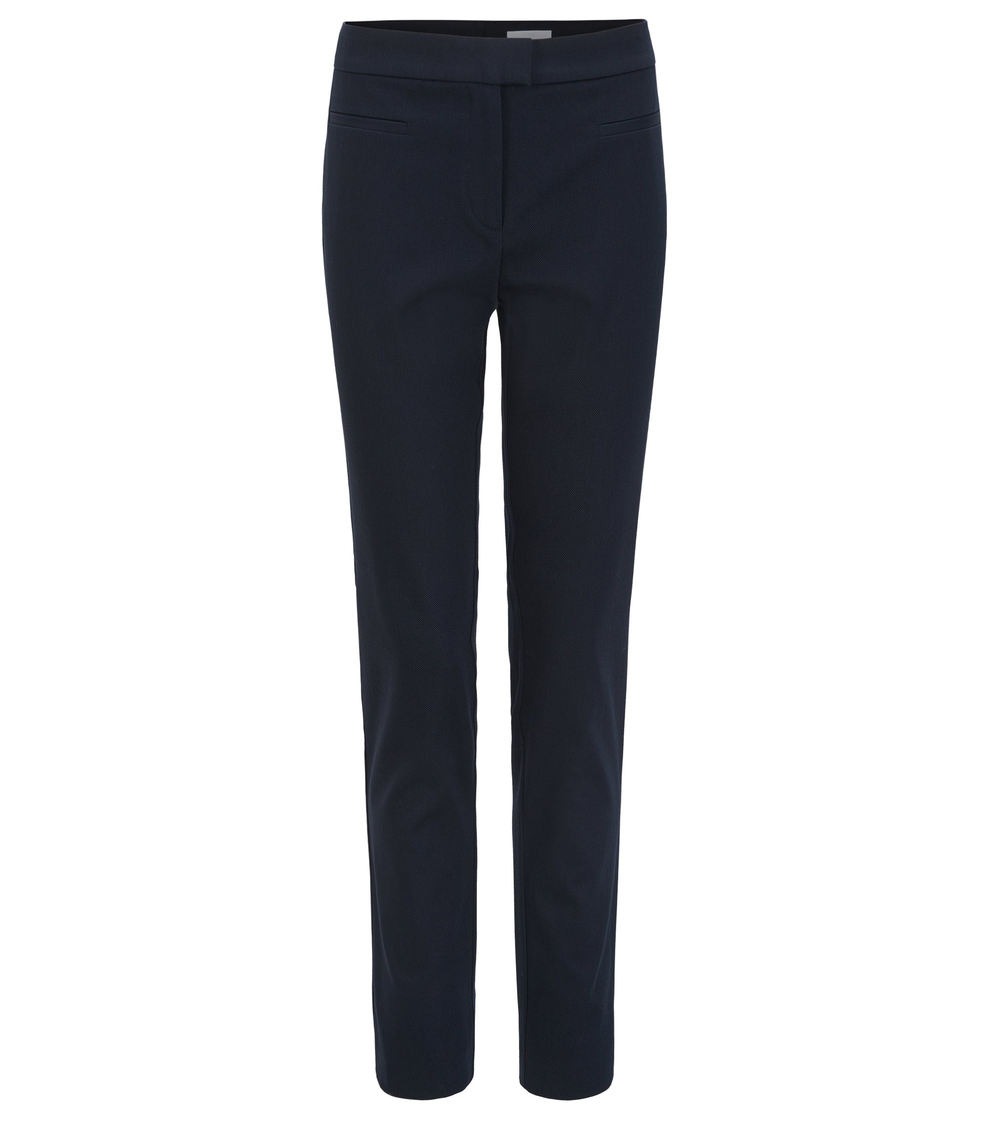 Slim-Fit Hose aus Stretch-Baumwolle in Cropped-Länge, Dunkelblau