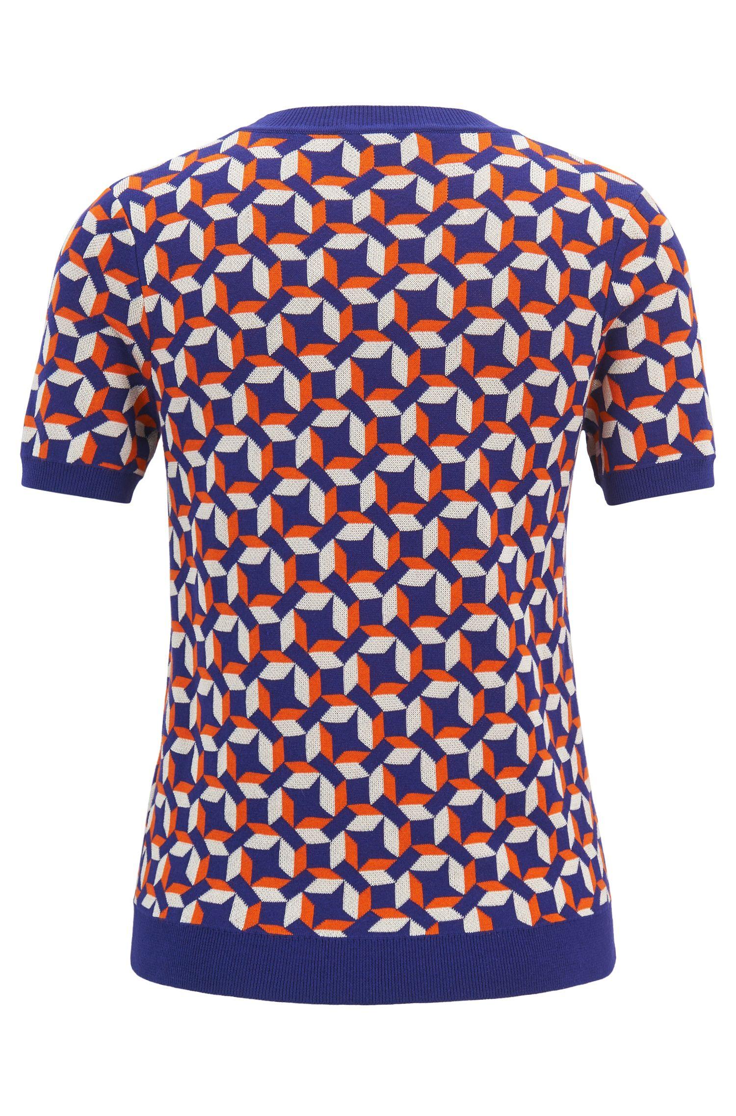 Kurzarm-Pullover mit mehrfarbigem Muster, Gemustert