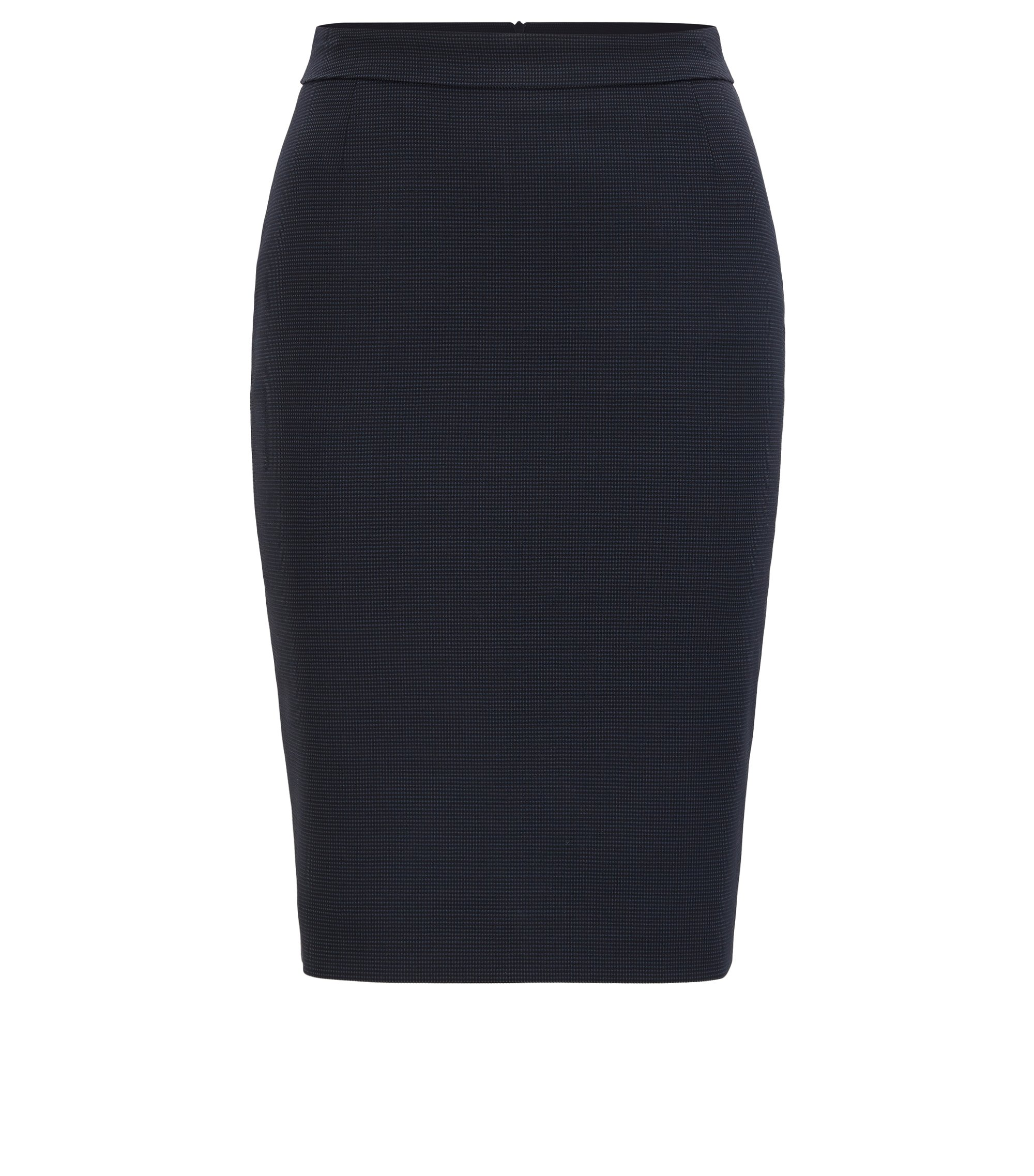 Micro-pattern pencil skirt in stretch wool, Patterned