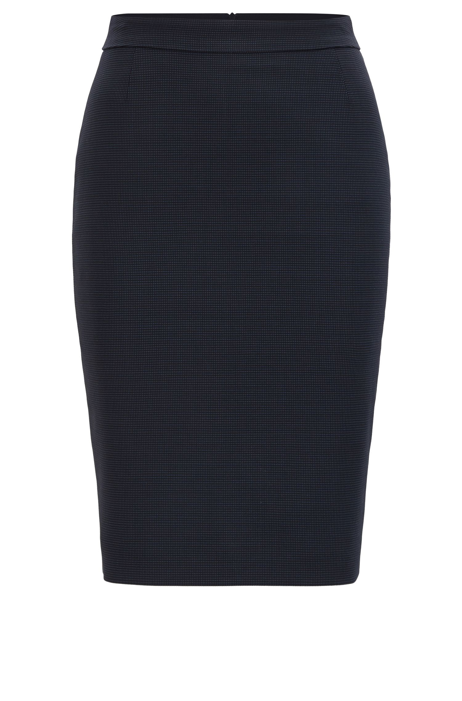 Micro-pattern pencil skirt in stretch wool