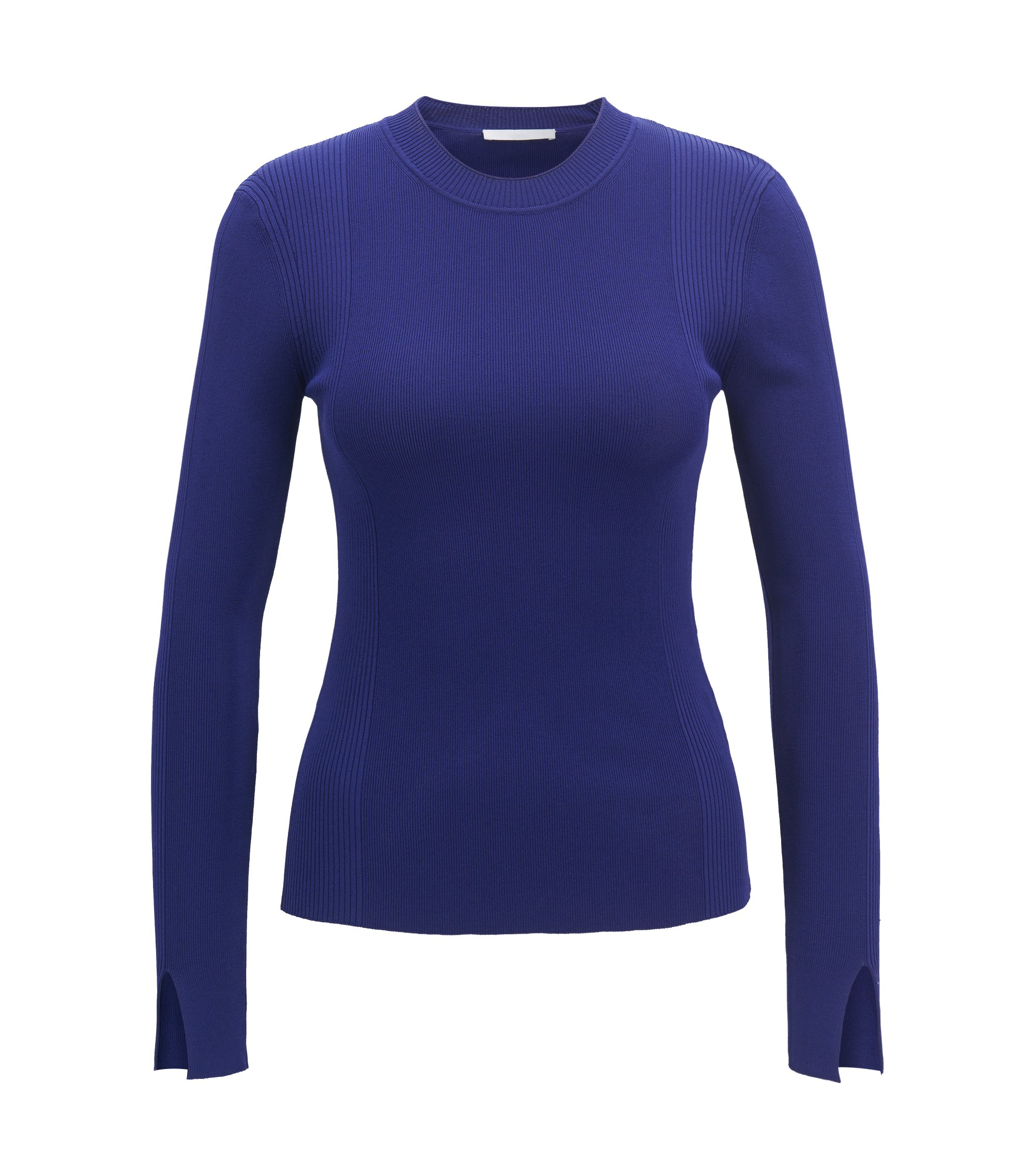 Long-sleeved ribbed sweater in stretch yarn, Purple