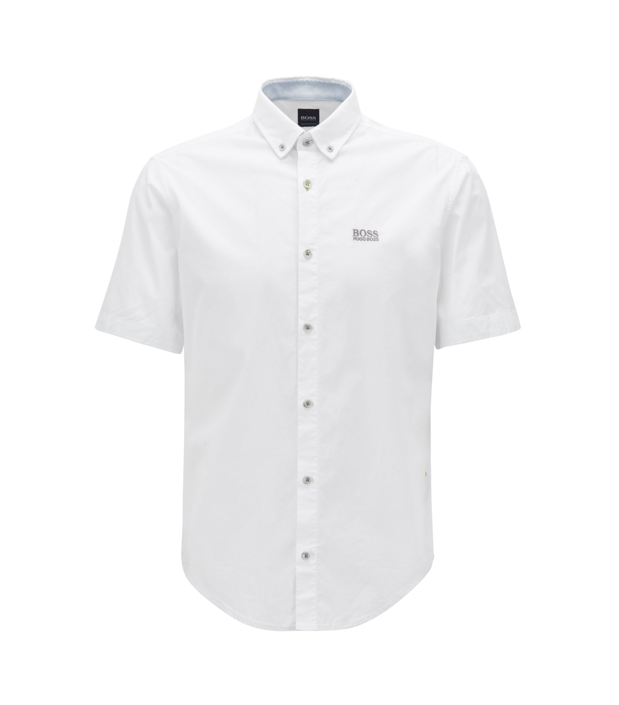 Regular-fit short-sleeved shirt with moisture management, White