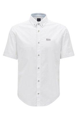 Chemise à manches courtes Regular Fit avec gestion de l'humidité, Blanc