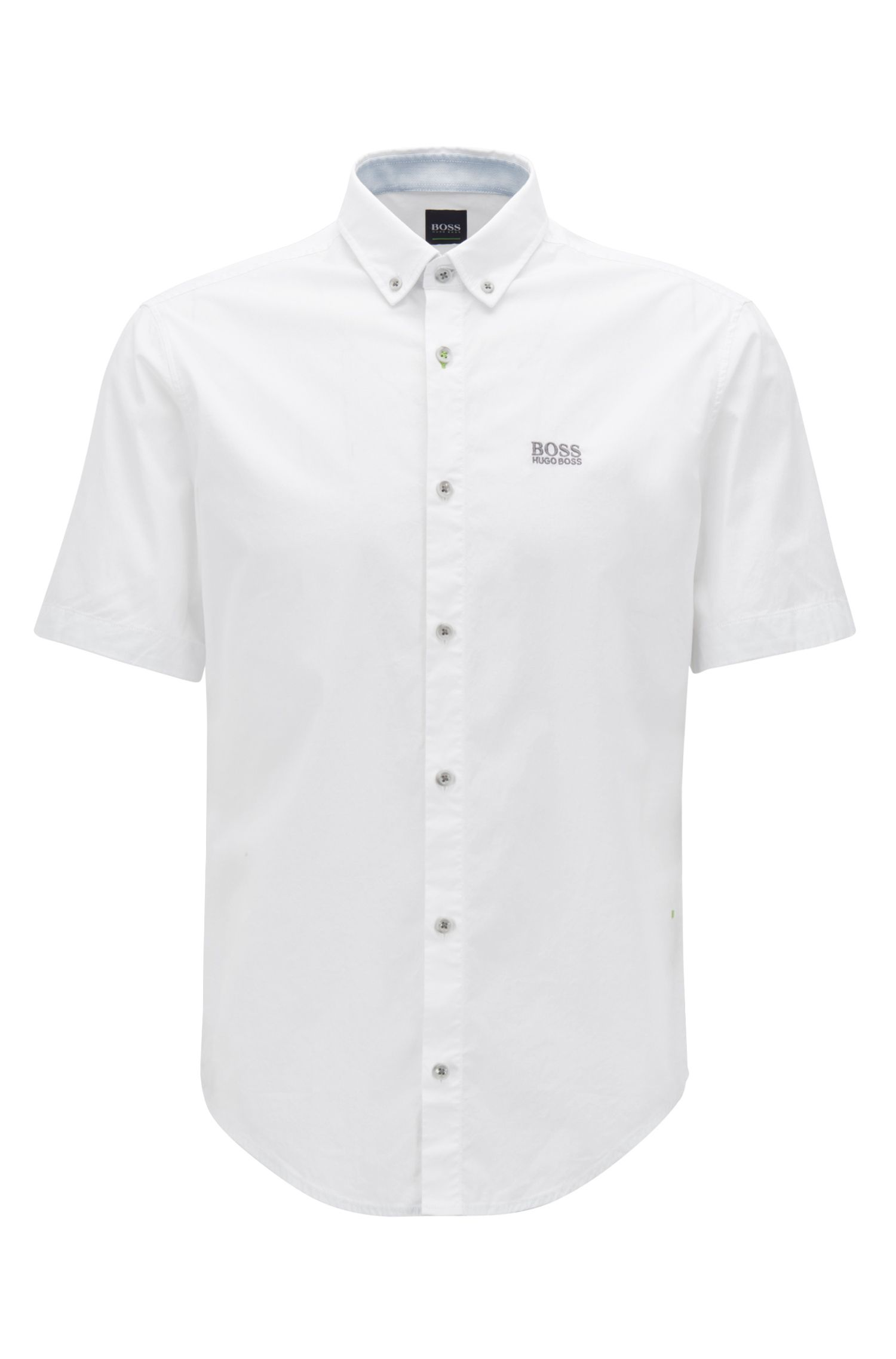 Regular-Fit Kurzarm-Hemd aus feuchtigkeitsableitender Stretch-Baumwolle, Weiß