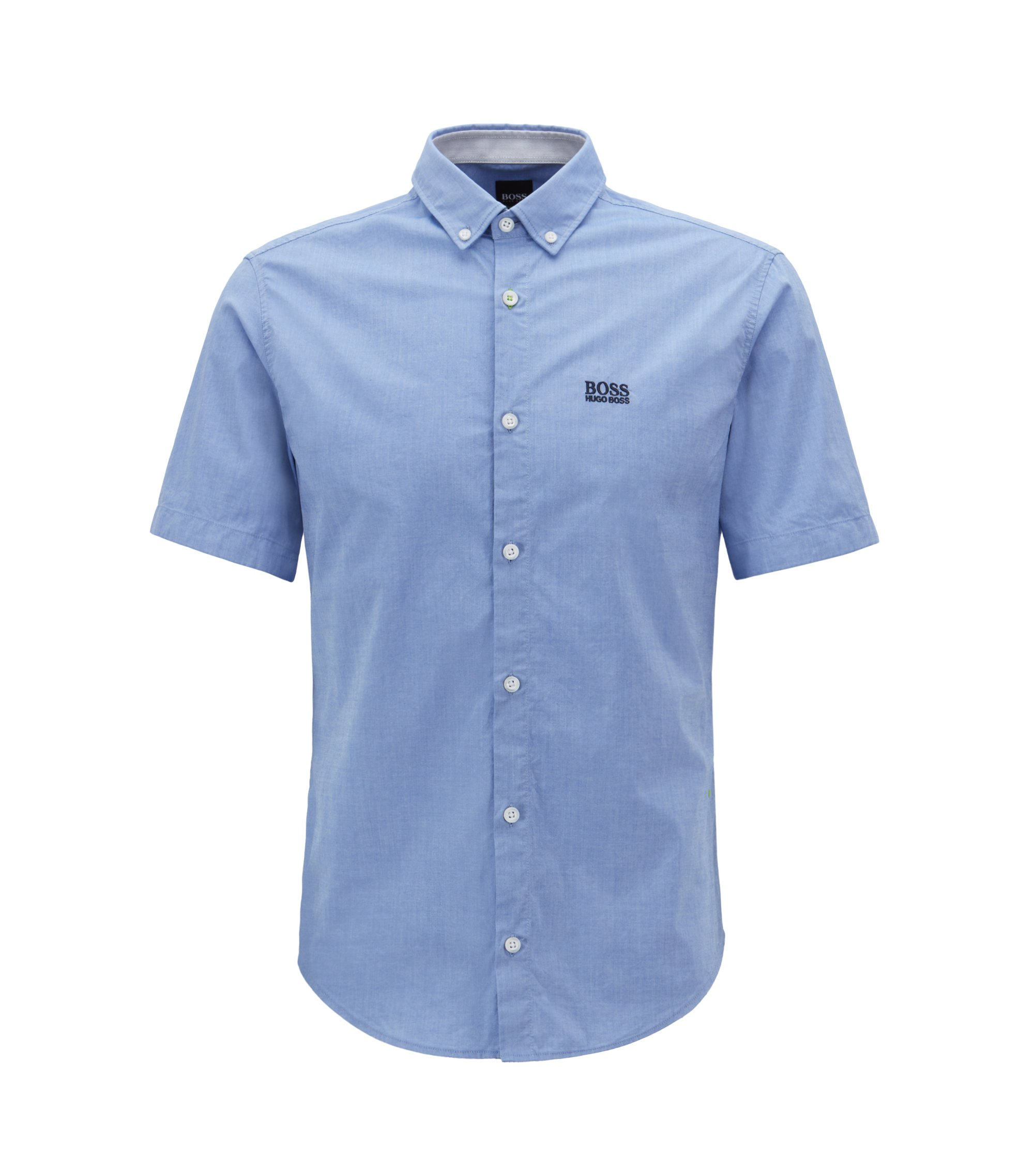 Regular-fit short-sleeved shirt with moisture management, Blue