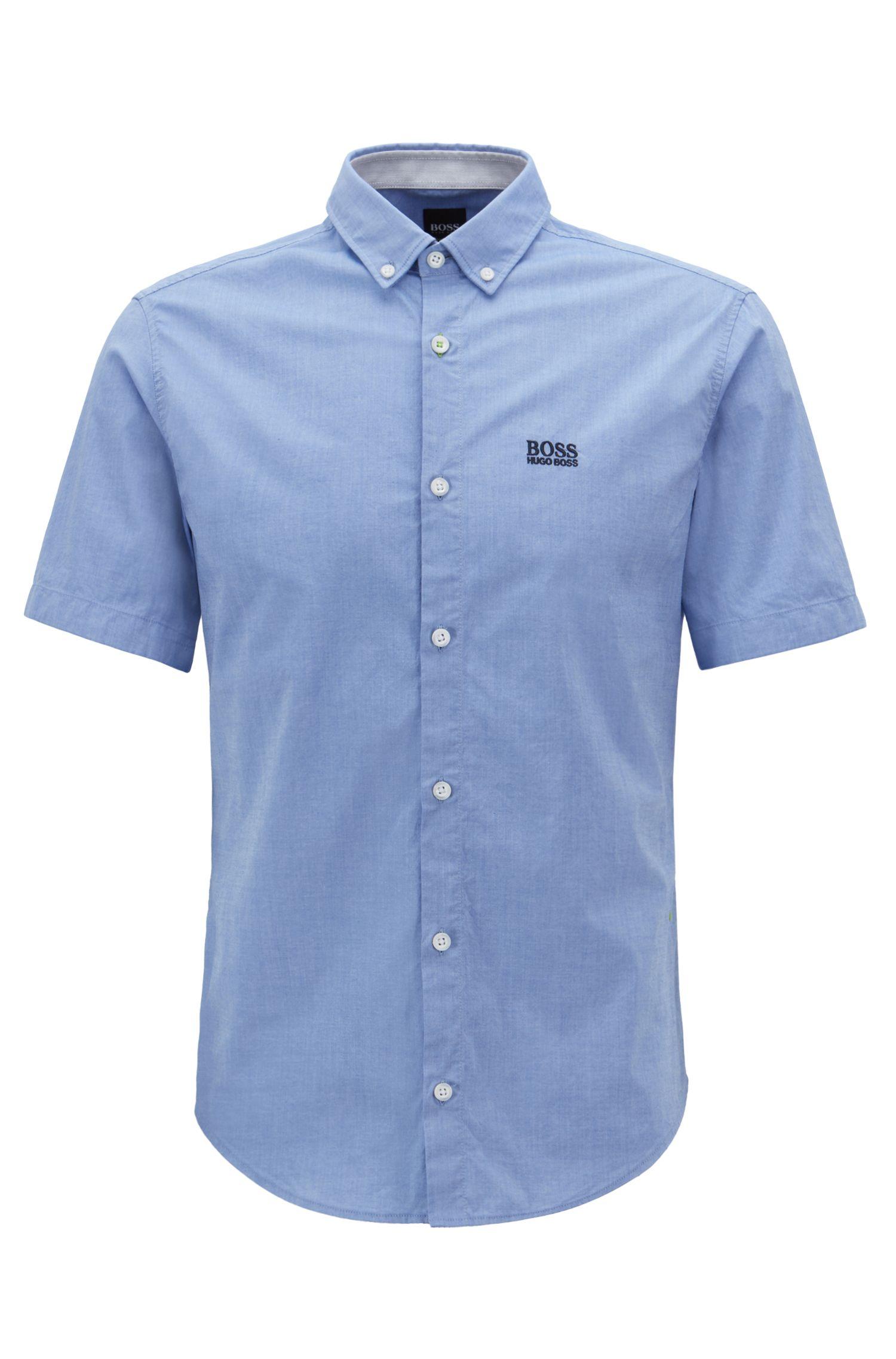 Regular-fit overhemd met korte mouwen en vochtafvoerende eigenschappen, Blauw