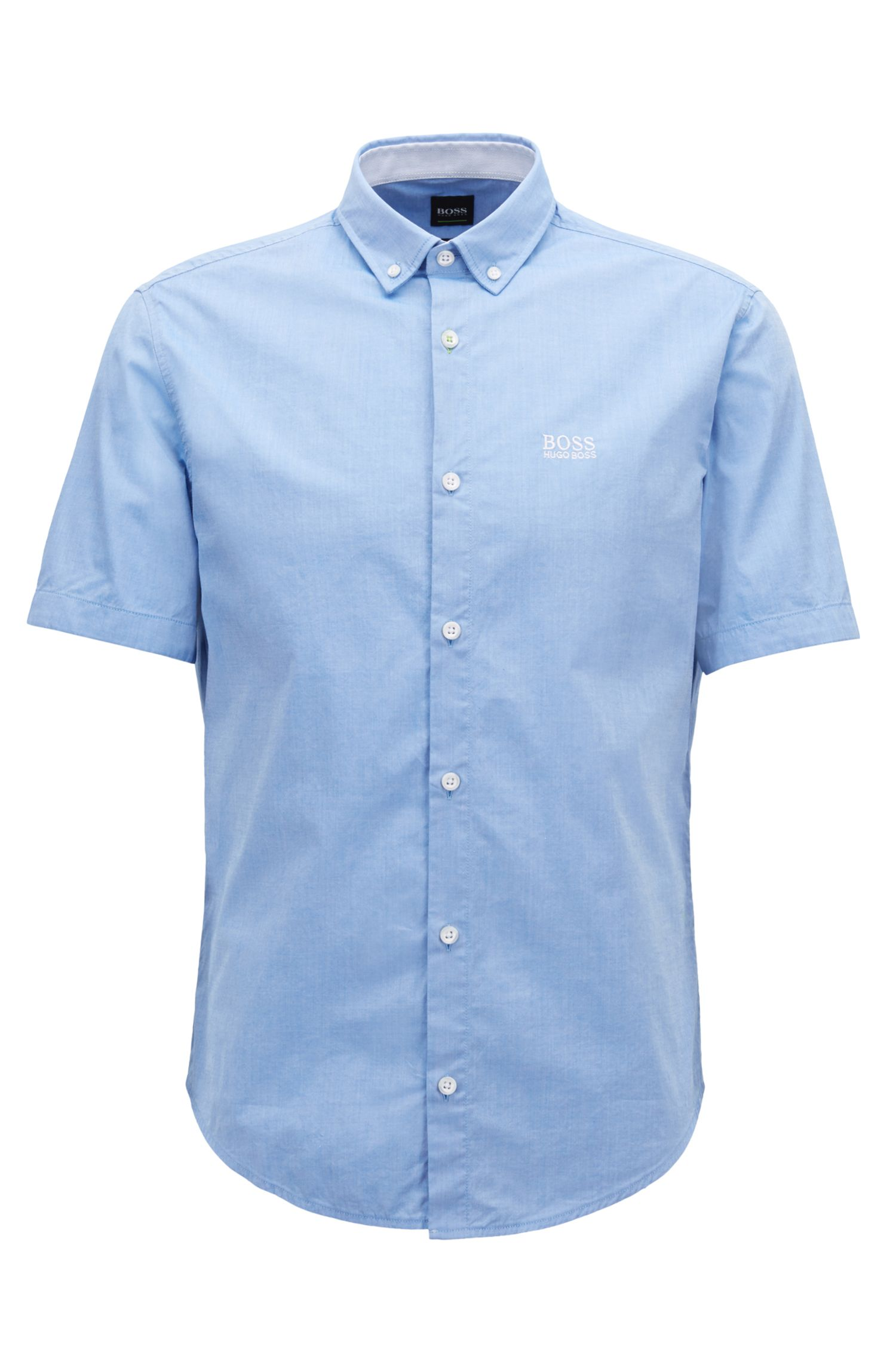 Regular-fit short-sleeved shirt with moisture management, Light Blue