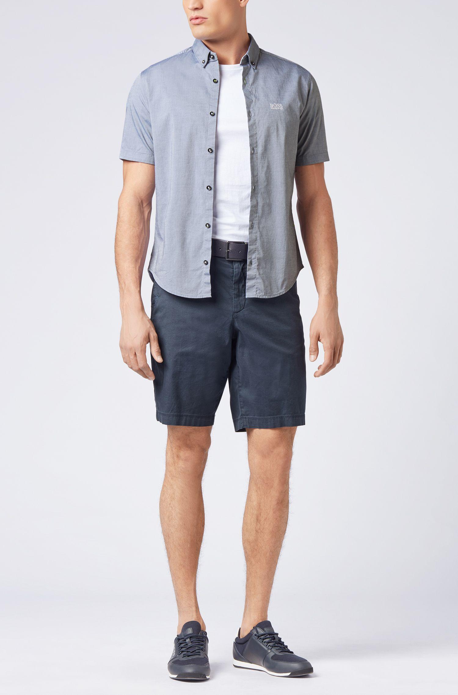 Regular-fit short-sleeved shirt with moisture management, Light Blue