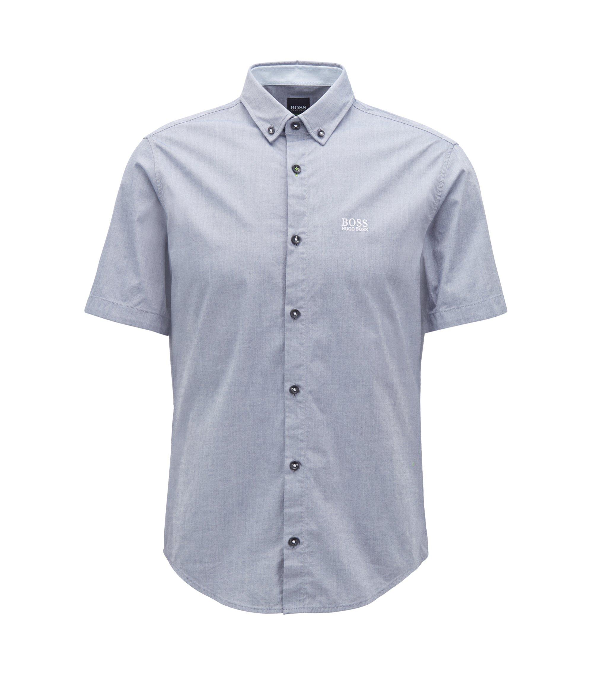 Regular-fit short-sleeved shirt with moisture management, Hellblau