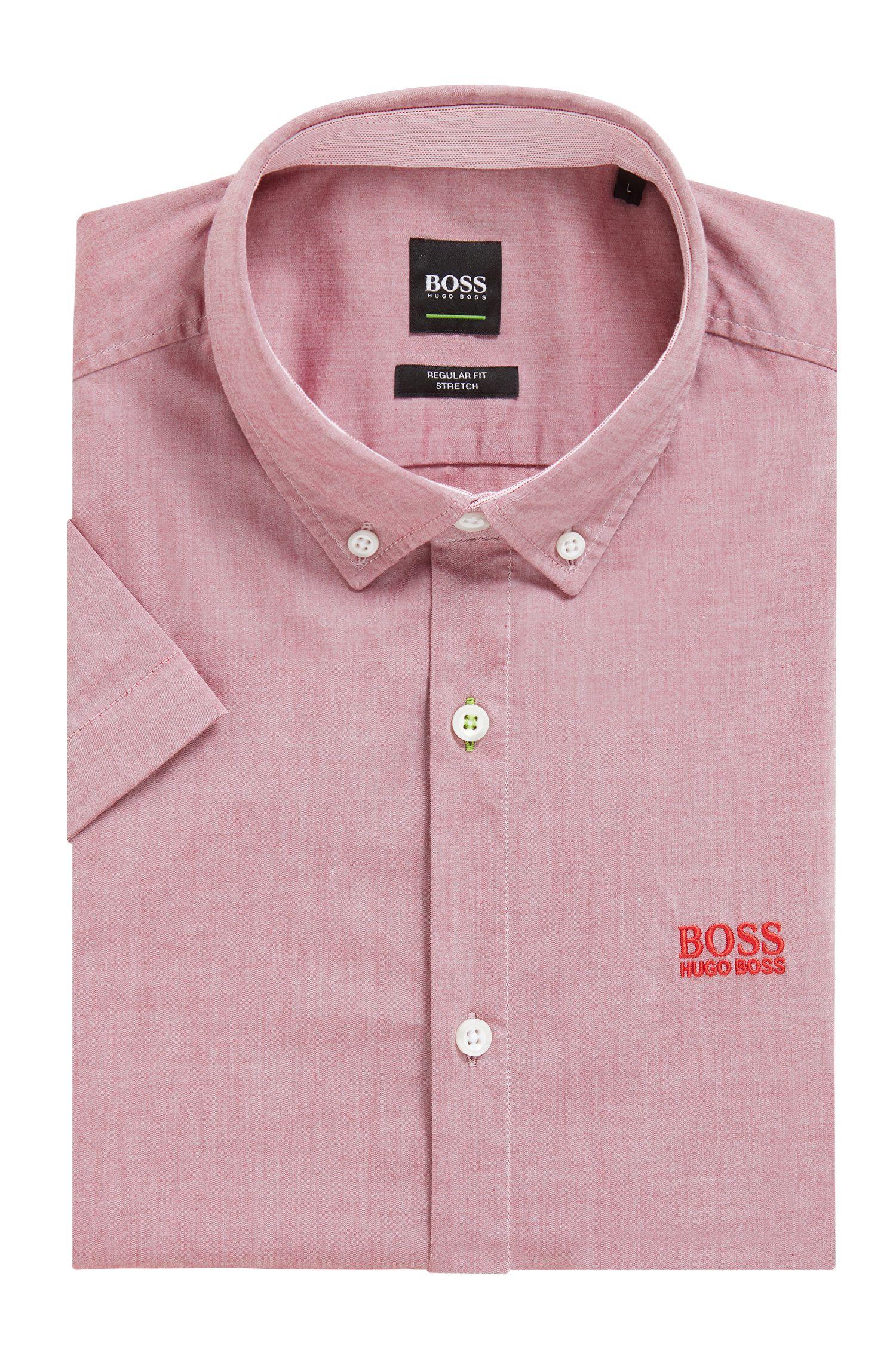 Camisa de manga corta regular fit con gestión de la humedad, Rojo oscuro