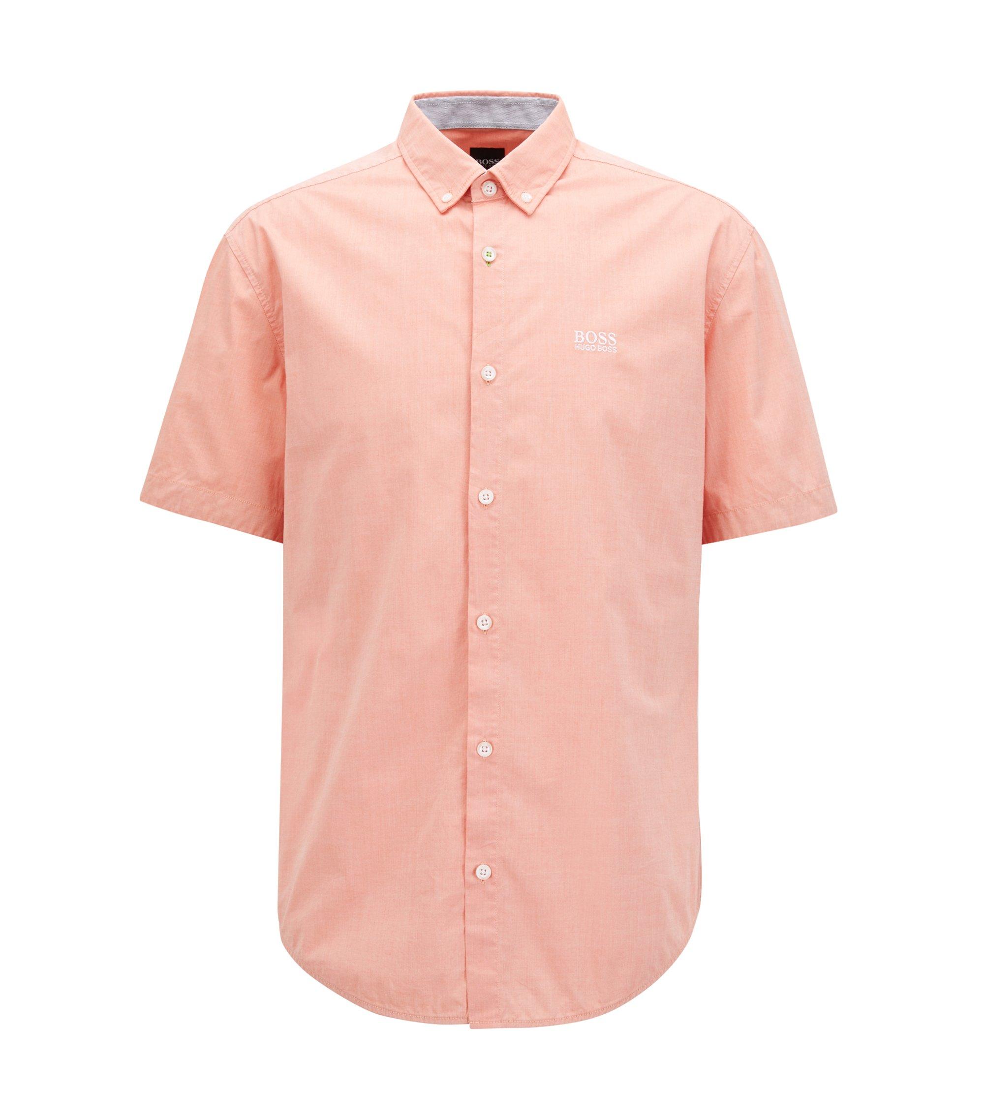 Regular-fit overhemd met korte mouwen en vochtafvoerende eigenschappen, Licht oranje