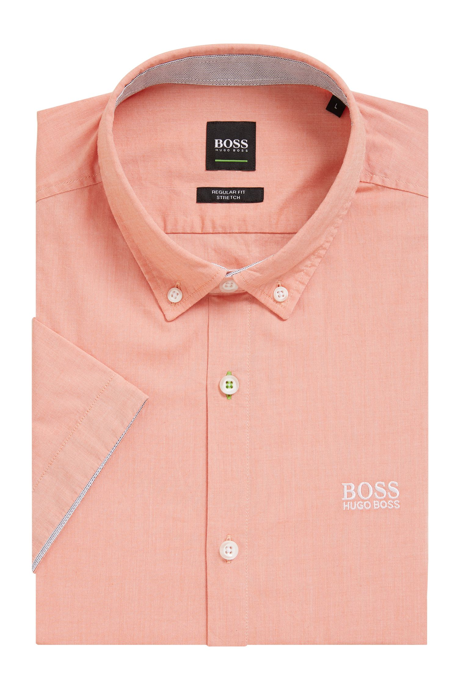Regular-fit short-sleeved shirt with moisture management