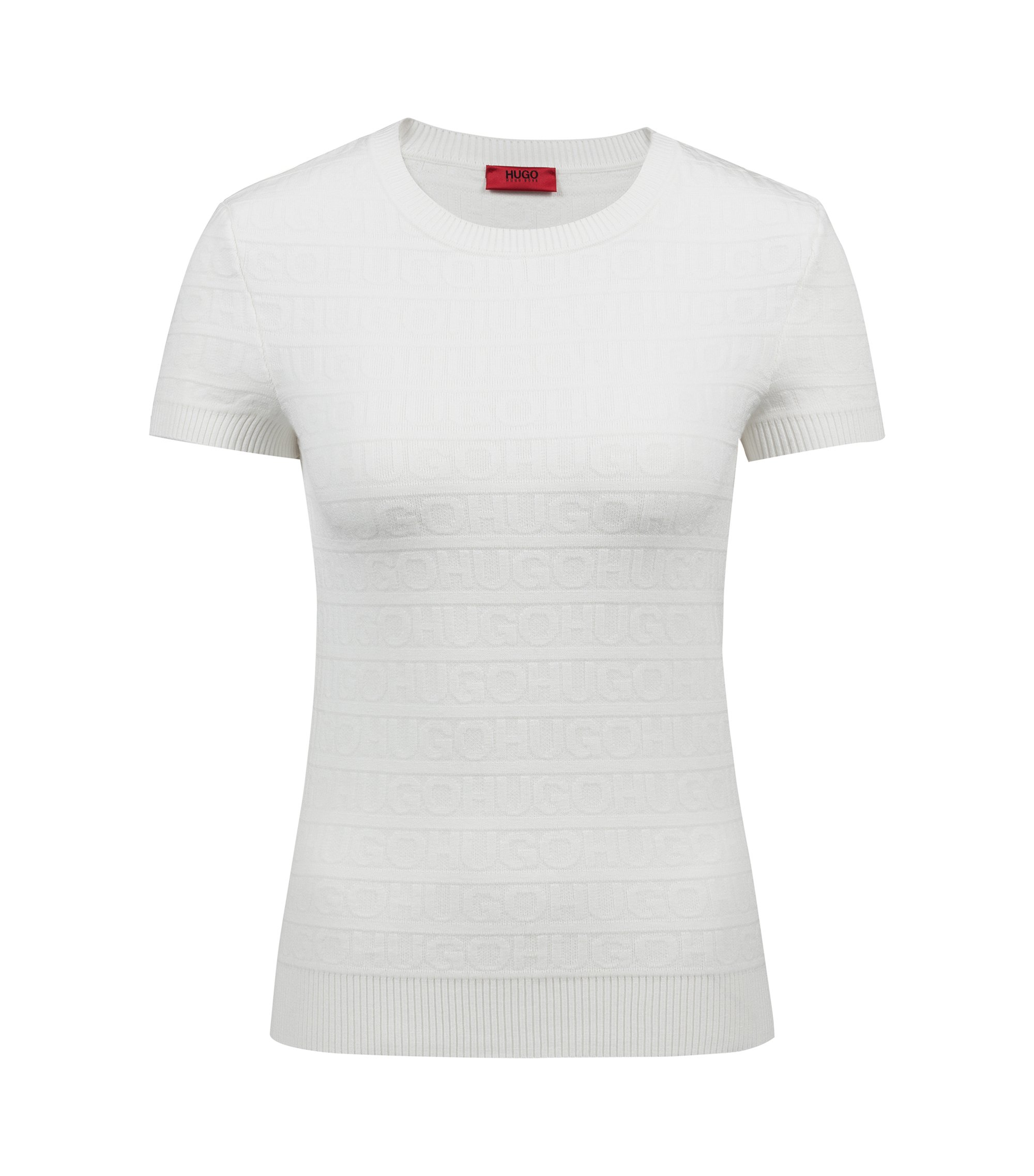 Short-sleeved logo sweater in super-stretch yarn, Natural