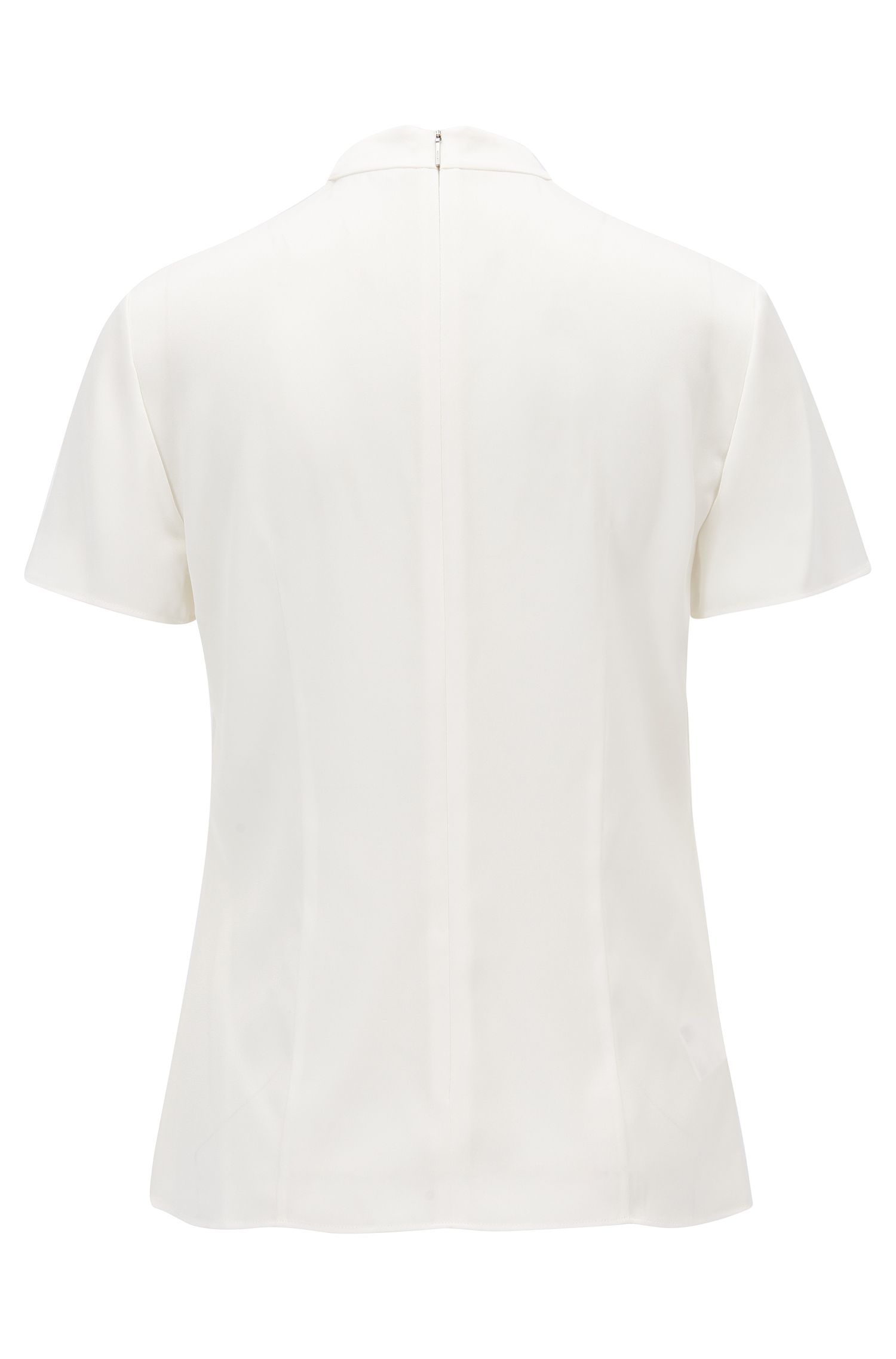 Gathered V-neck top in stretch silk, Natural