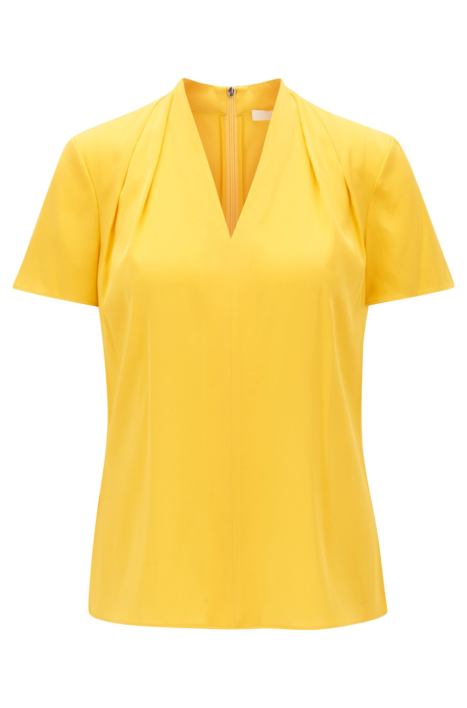 Gathered V-neck top in stretch silk