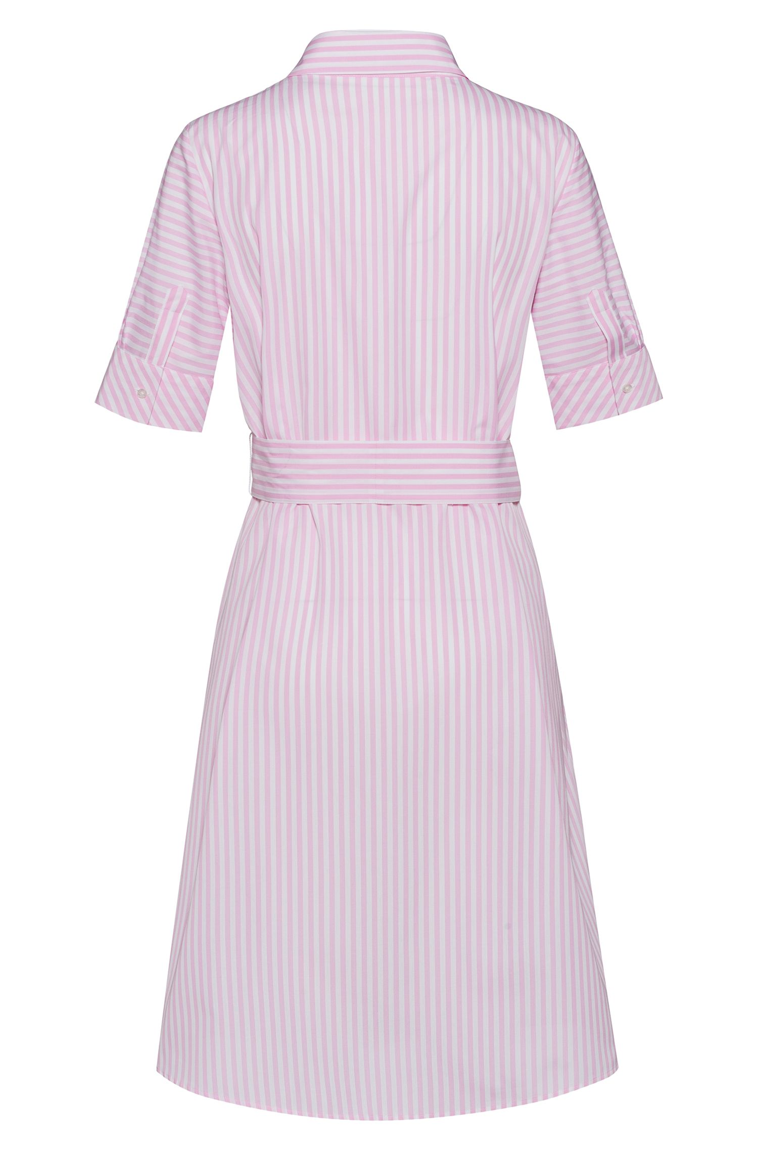 A-line shirt dress in striped cotton, Pink