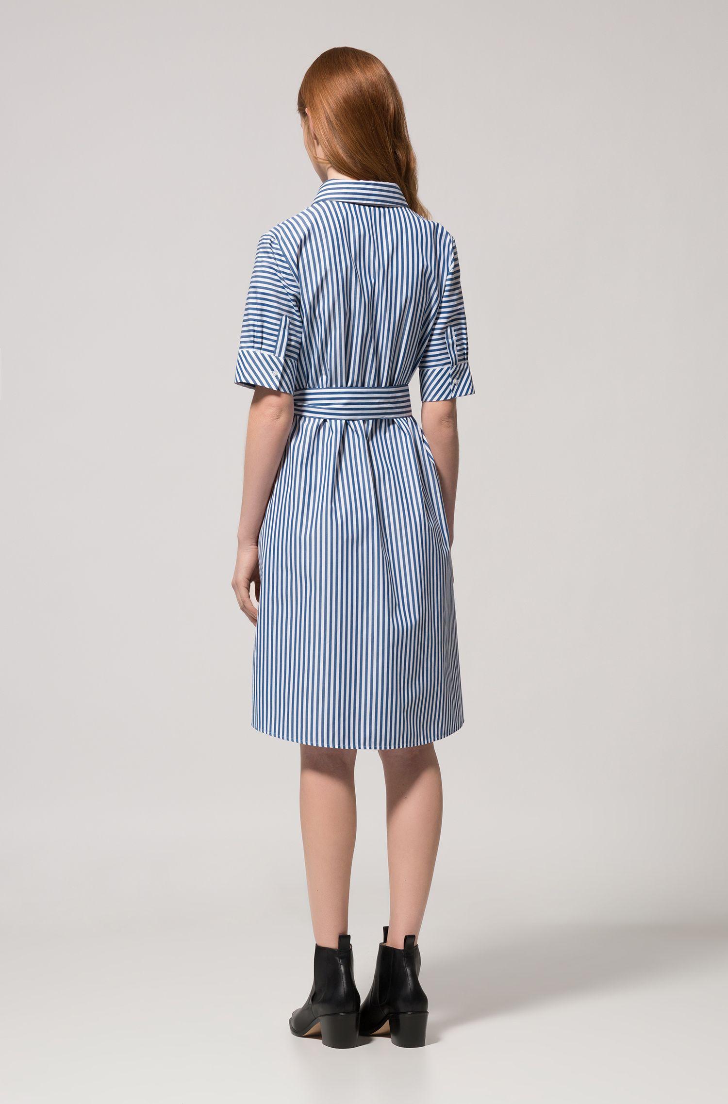 A-line shirt dress in striped cotton HUGO BOSS
