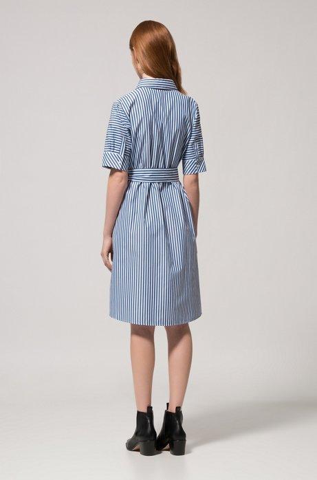 A-line shirt dress in striped cotton HUGO BOSS 6XccR0Ps