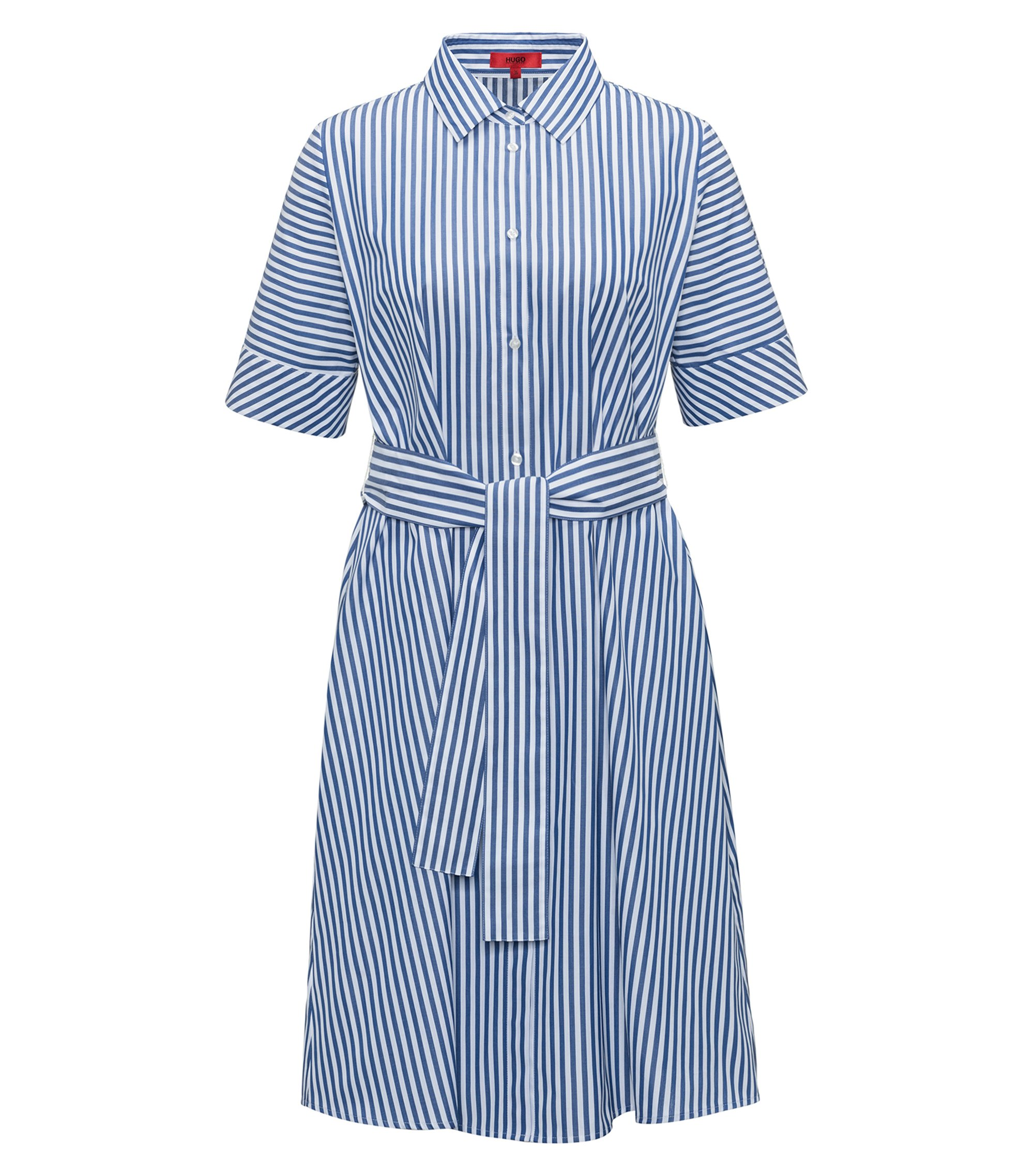 A-line shirt dress in striped cotton, Patterned