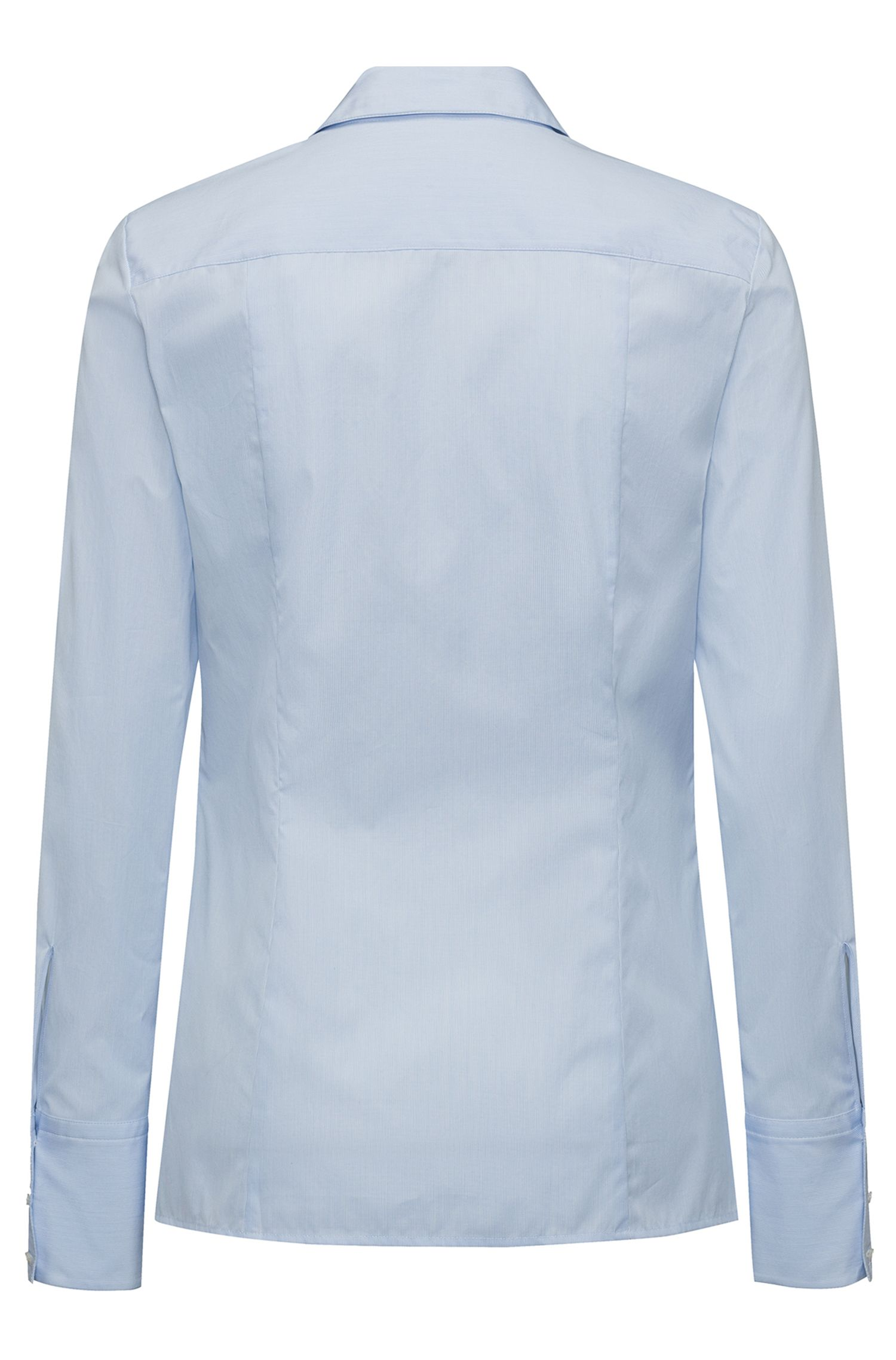 Slim-fit blouse in cotton with woven micro stripe, Light Blue