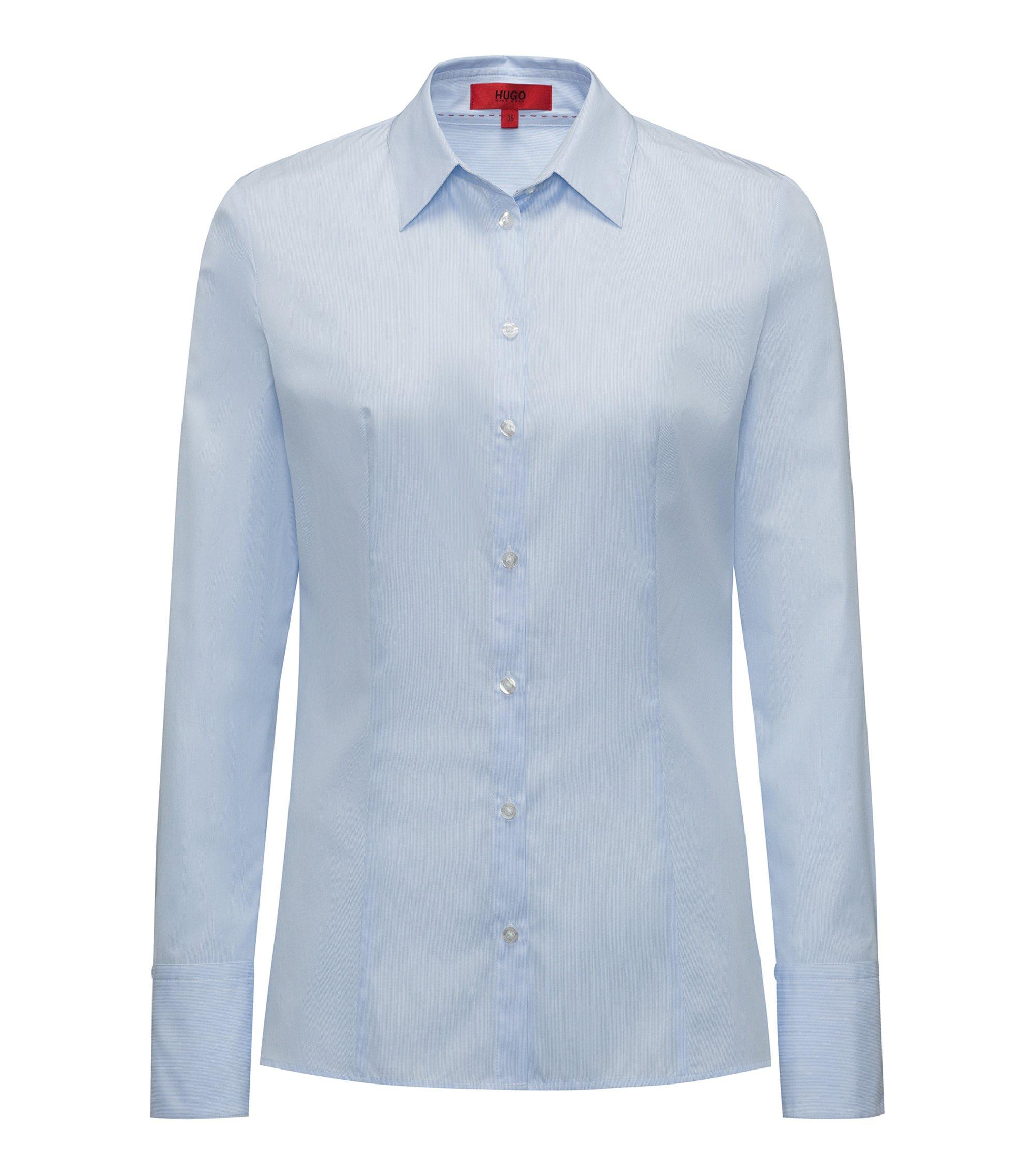 Slim-Fit Bluse aus Baumwolle mit feiner Streifenstruktur, Hellblau