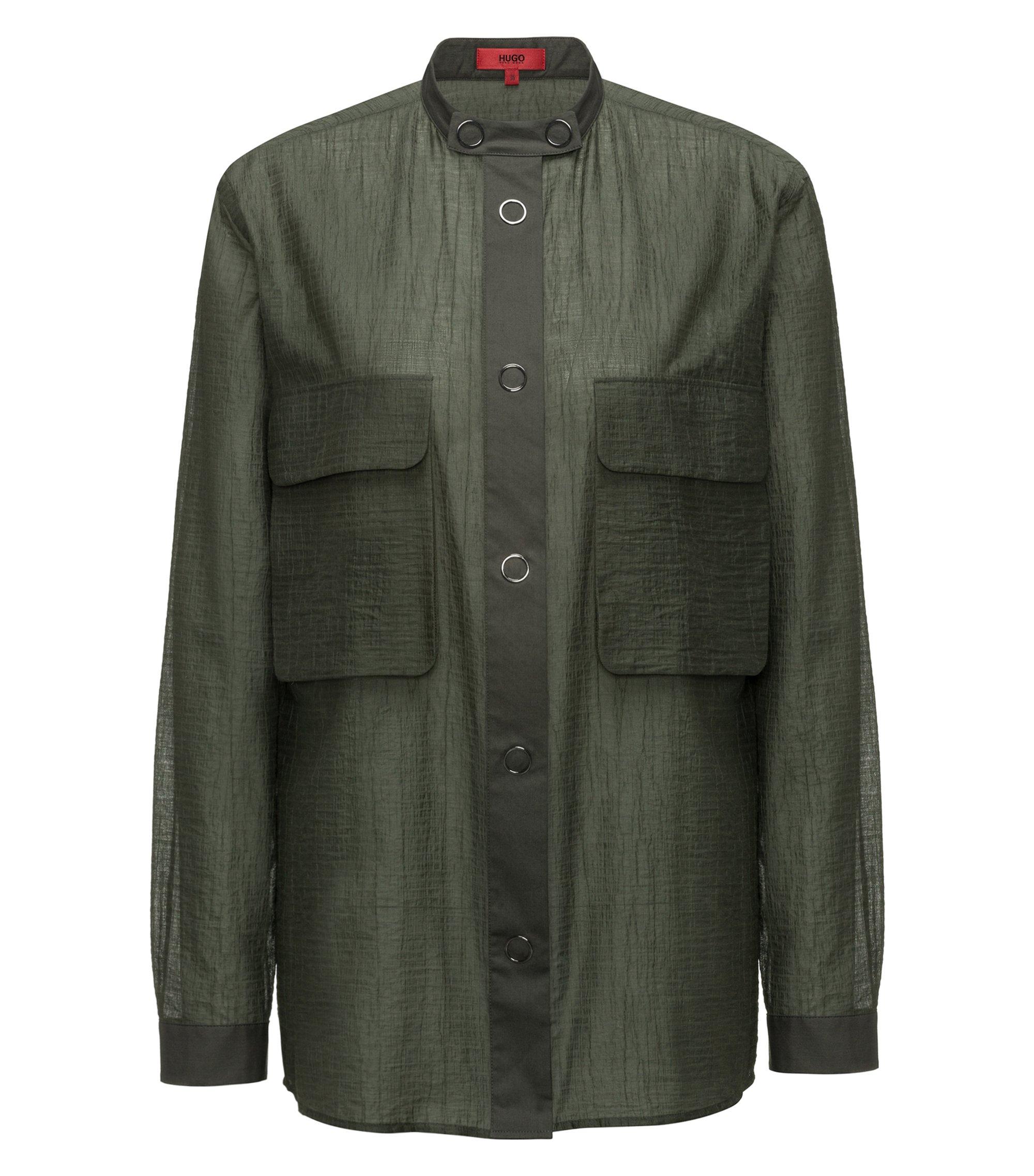 Chemiser avec boutons-pression de type anneau en voile de coton mélangé froissé, Vert