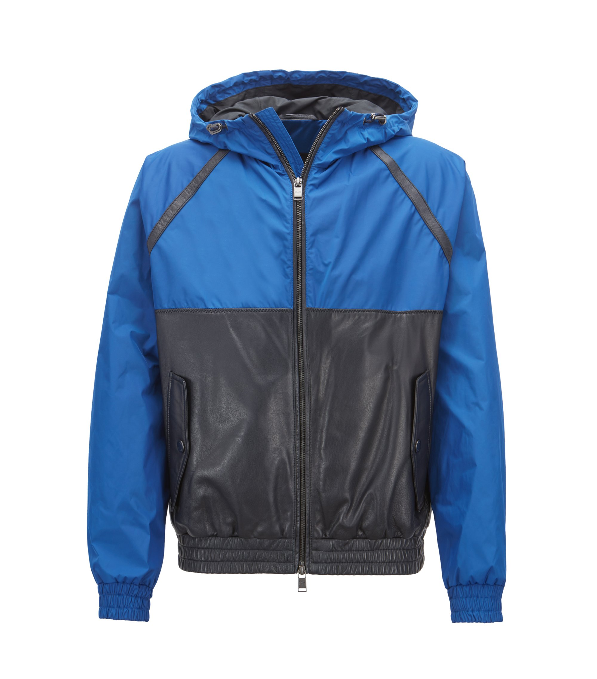 Hybrid jacket in lightweight technical fabric and leather, Blue