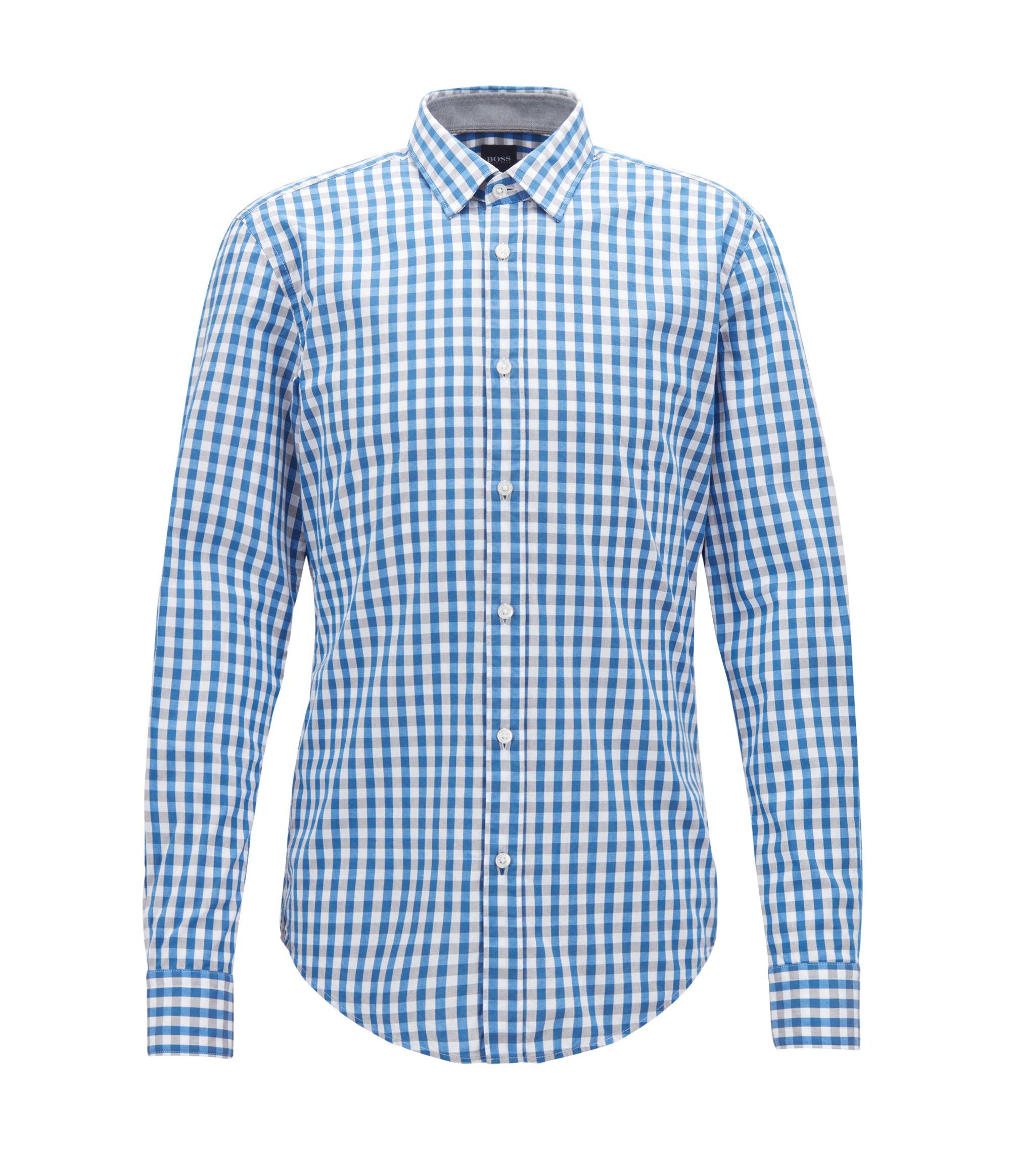Slim-Fit Hemd aus Baumwolle mit Vichy-Karo, Hellblau