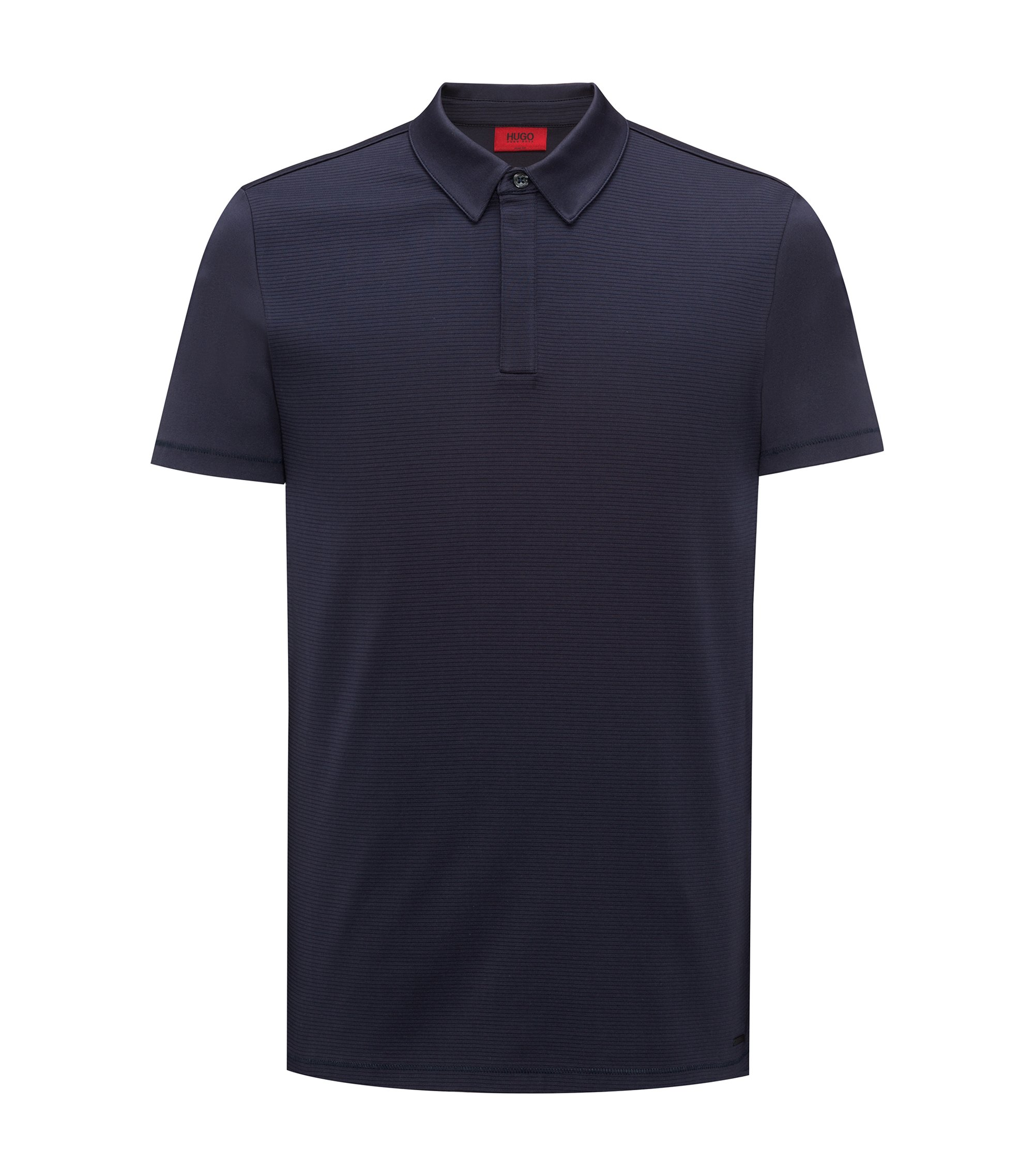 Slim-fit cotton polo shirt with contrast textured front, Dark Blue