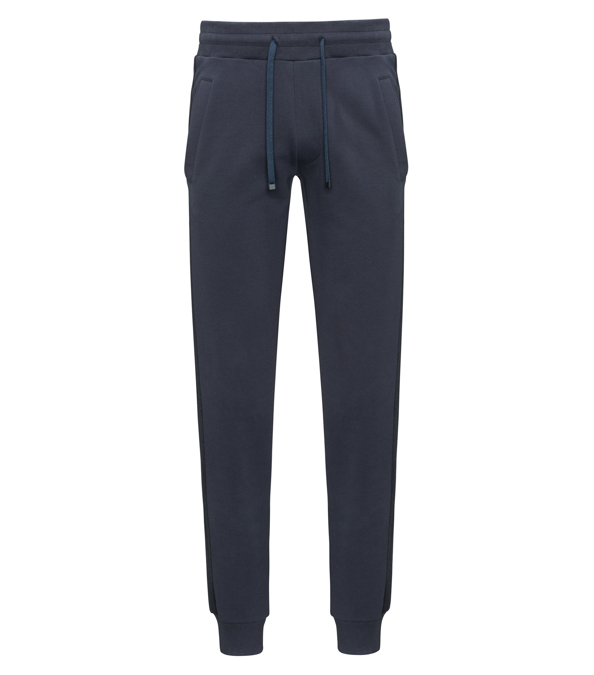 Cotton jogging trousers with side stripes, Dark Blue
