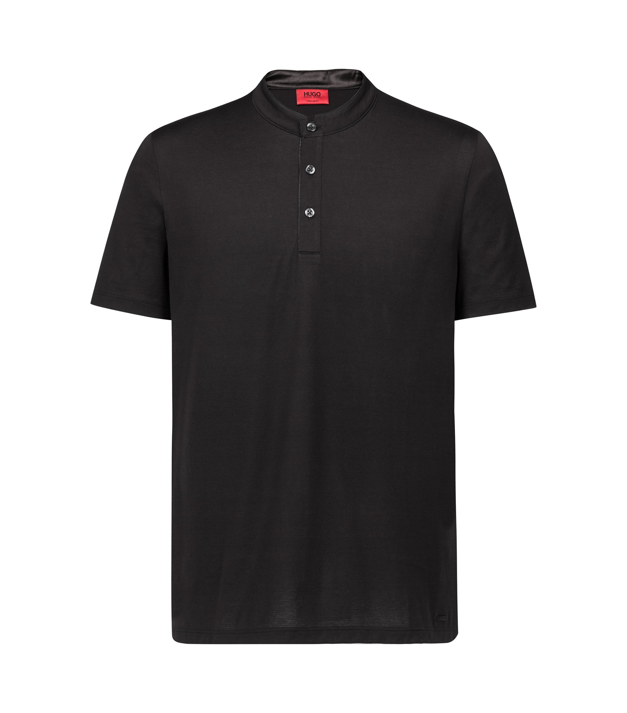 Regular-fit polo shirt in interlock cotton with stand collar, Black