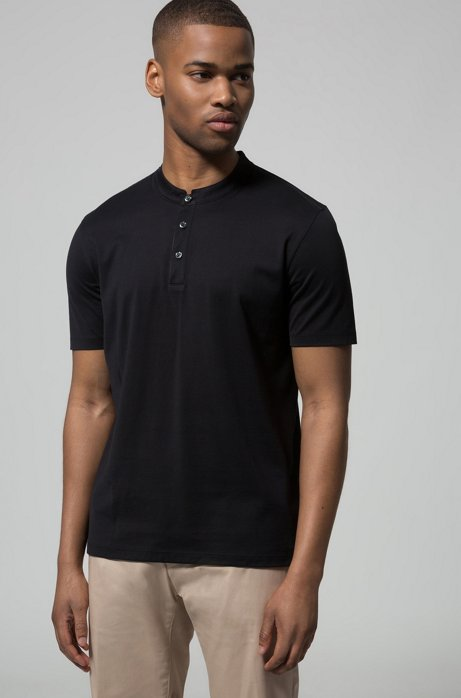 Polo Regular Fit en coton interlock, à col montant