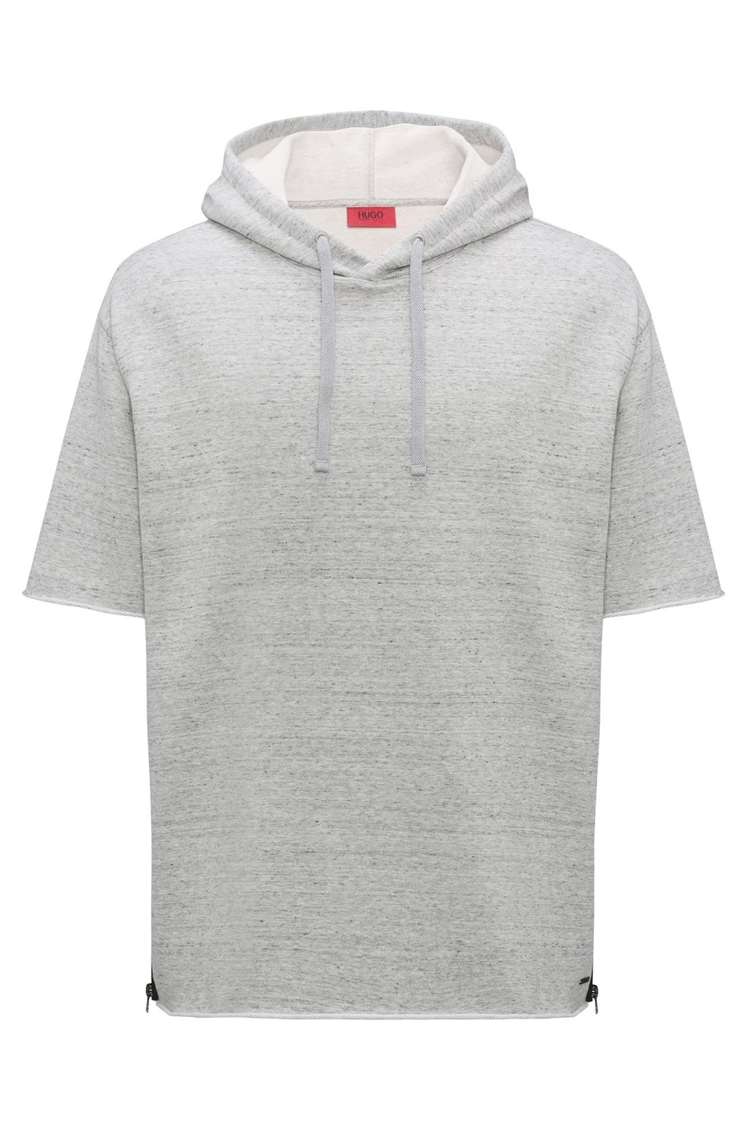 Short-sleeved hooded sweatshirt with zipped side seams