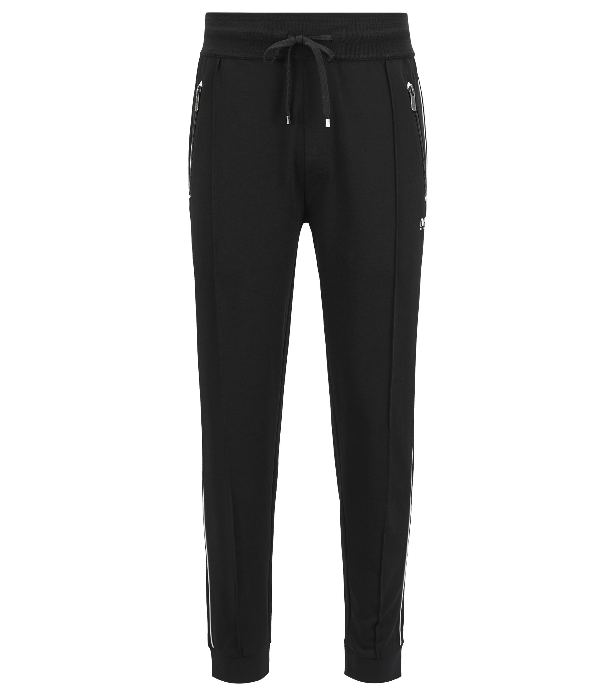 Loungewear trousers in cotton-blend piqué , Black