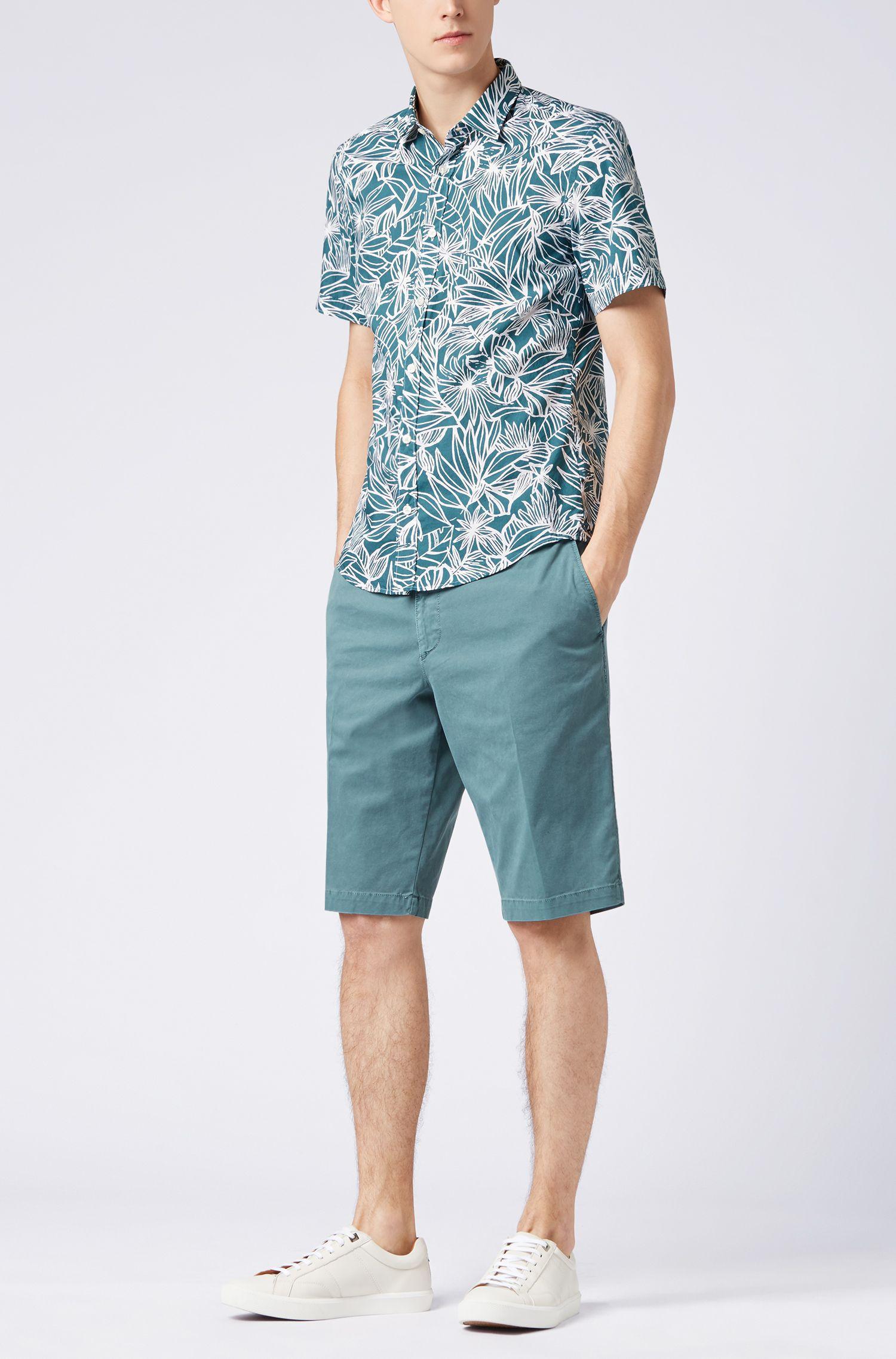 Slim-fit overhemd van gewassen katoen met bloemenprint, Donkergroen